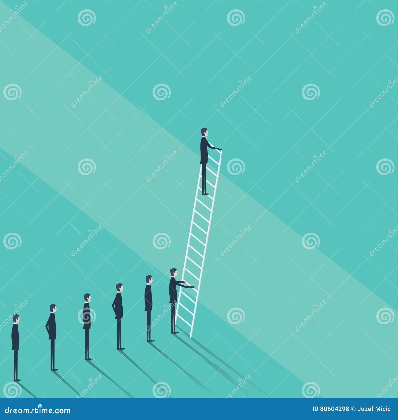 挑战,问题解答的企业概念 商人上升在公司梯子的传染媒介标志