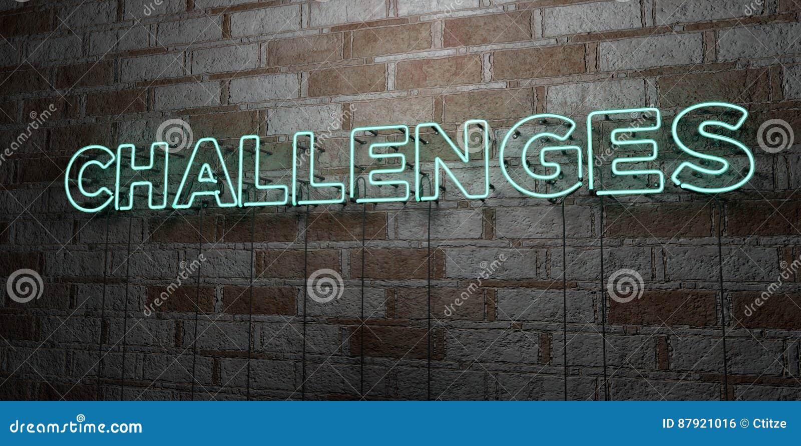 挑战-在石制品墙壁上的发光的霓虹灯广告- 3D回报了皇族自由储蓄例证