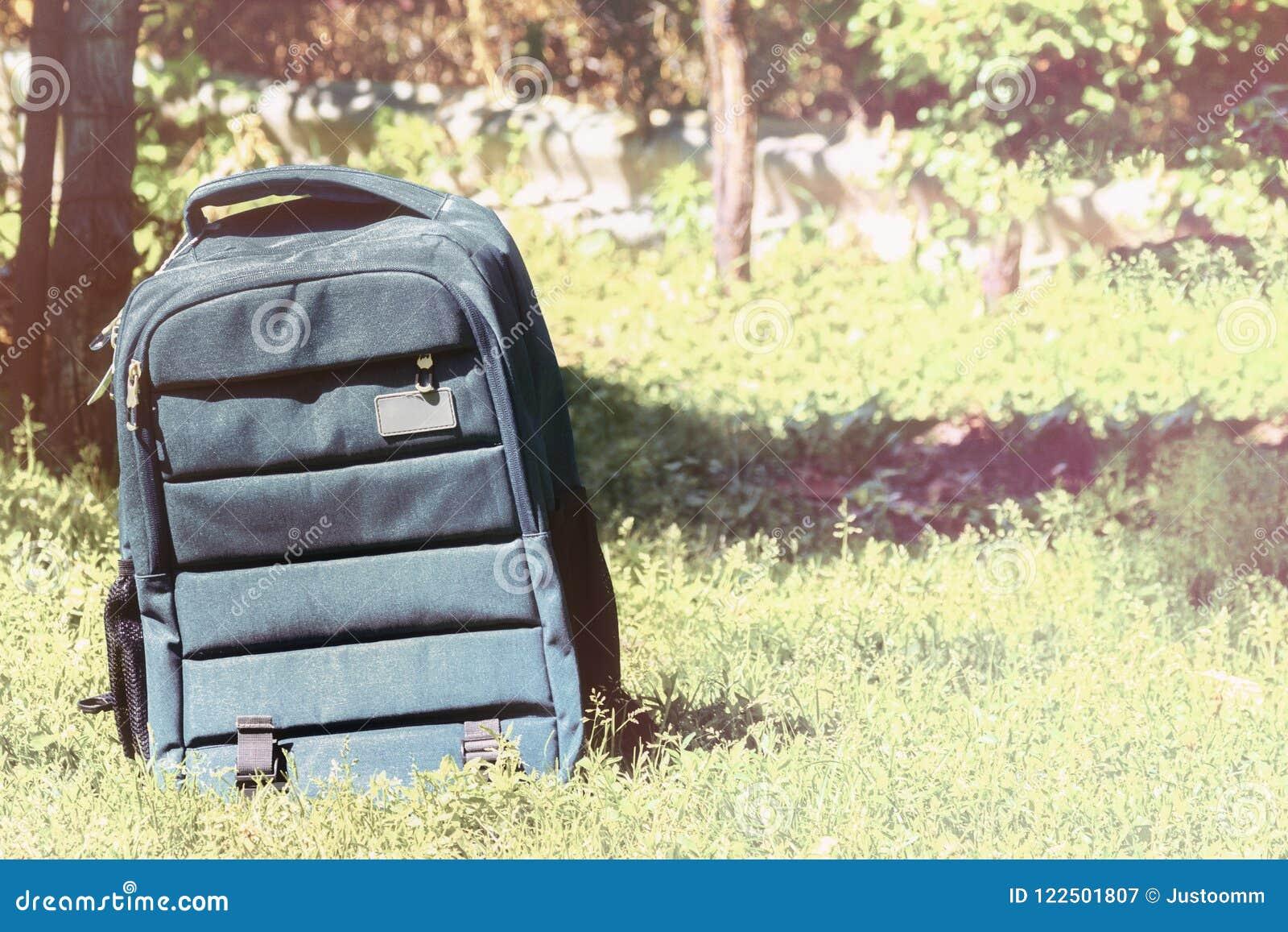 挑运在草背景的袋子,回到学校