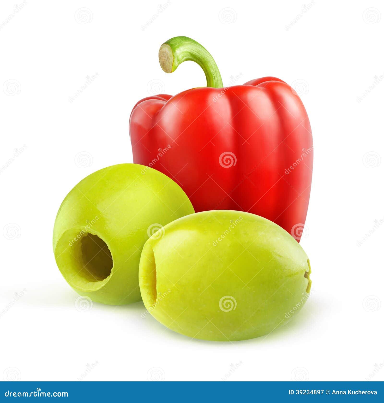 挖坑的绿橄榄和红色甜椒