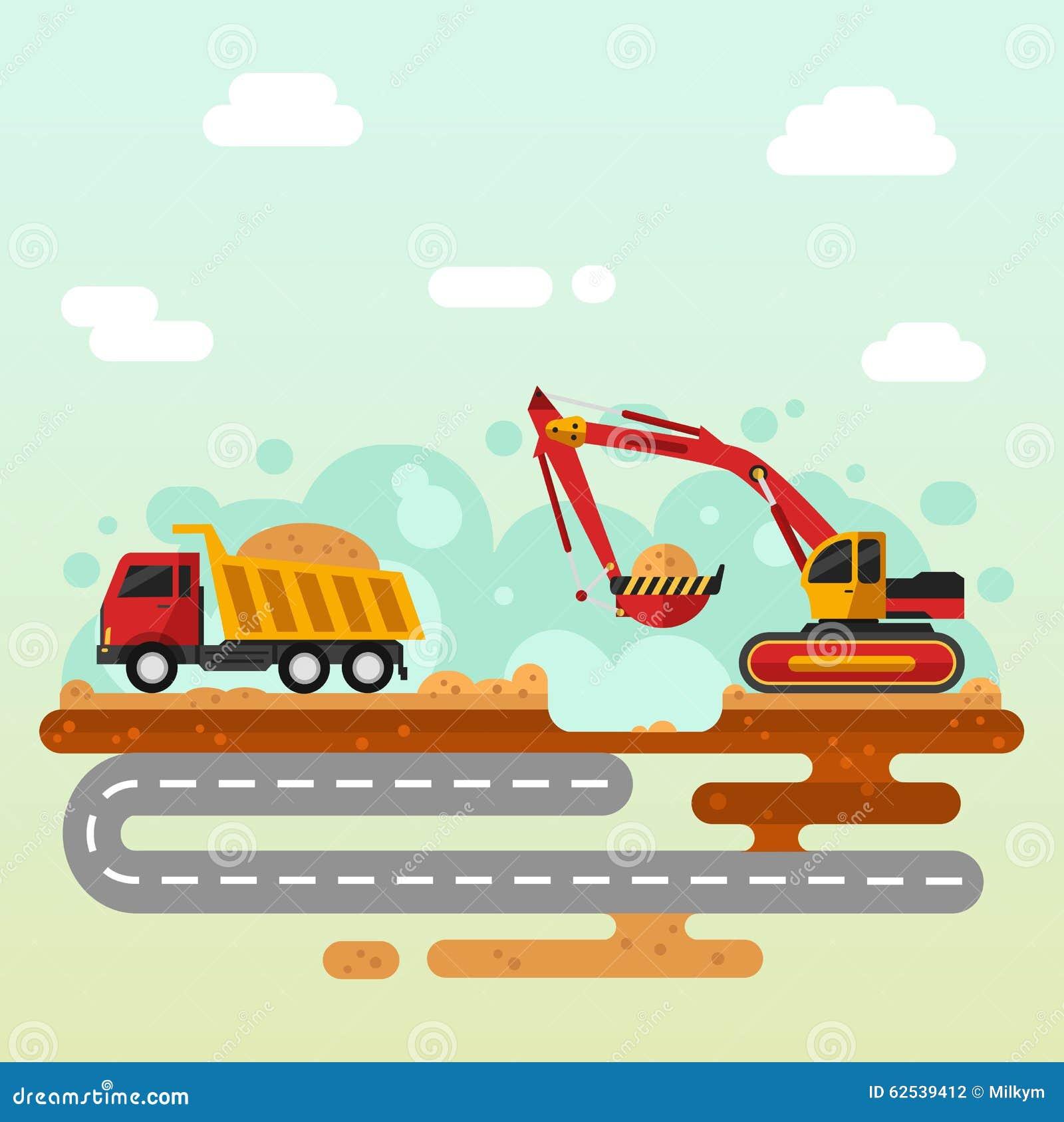 挖掘机和卡车