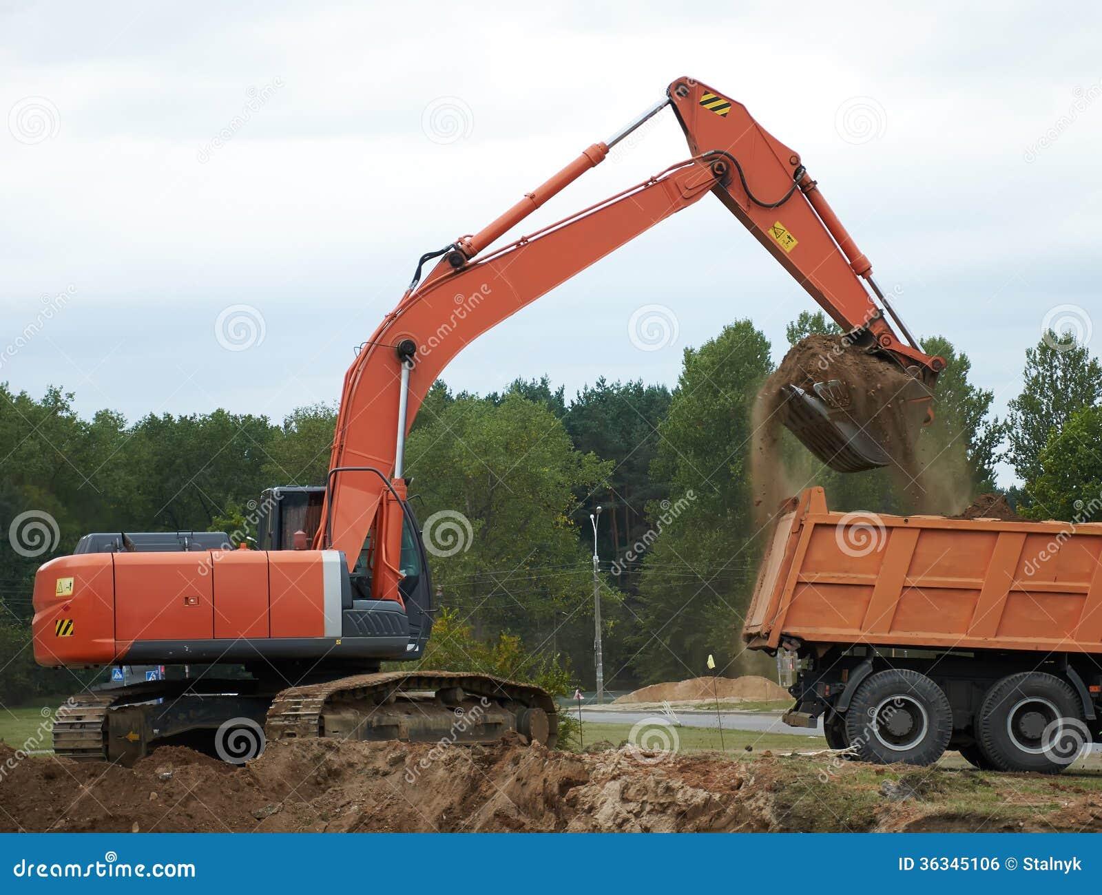 挖掘机装货倾销者卡车
