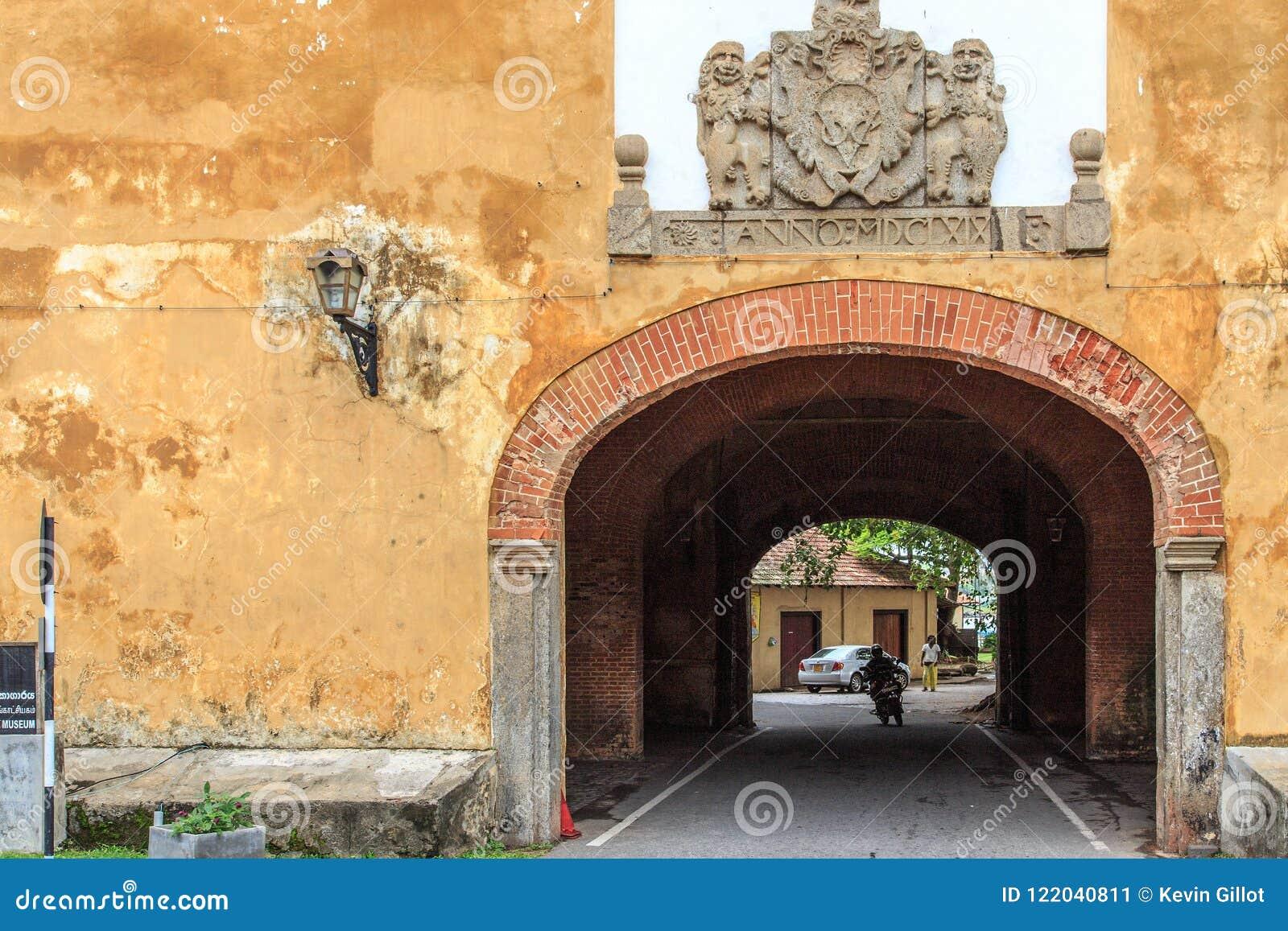 挖洞入口到加勒堡垒的老门,斯里兰卡