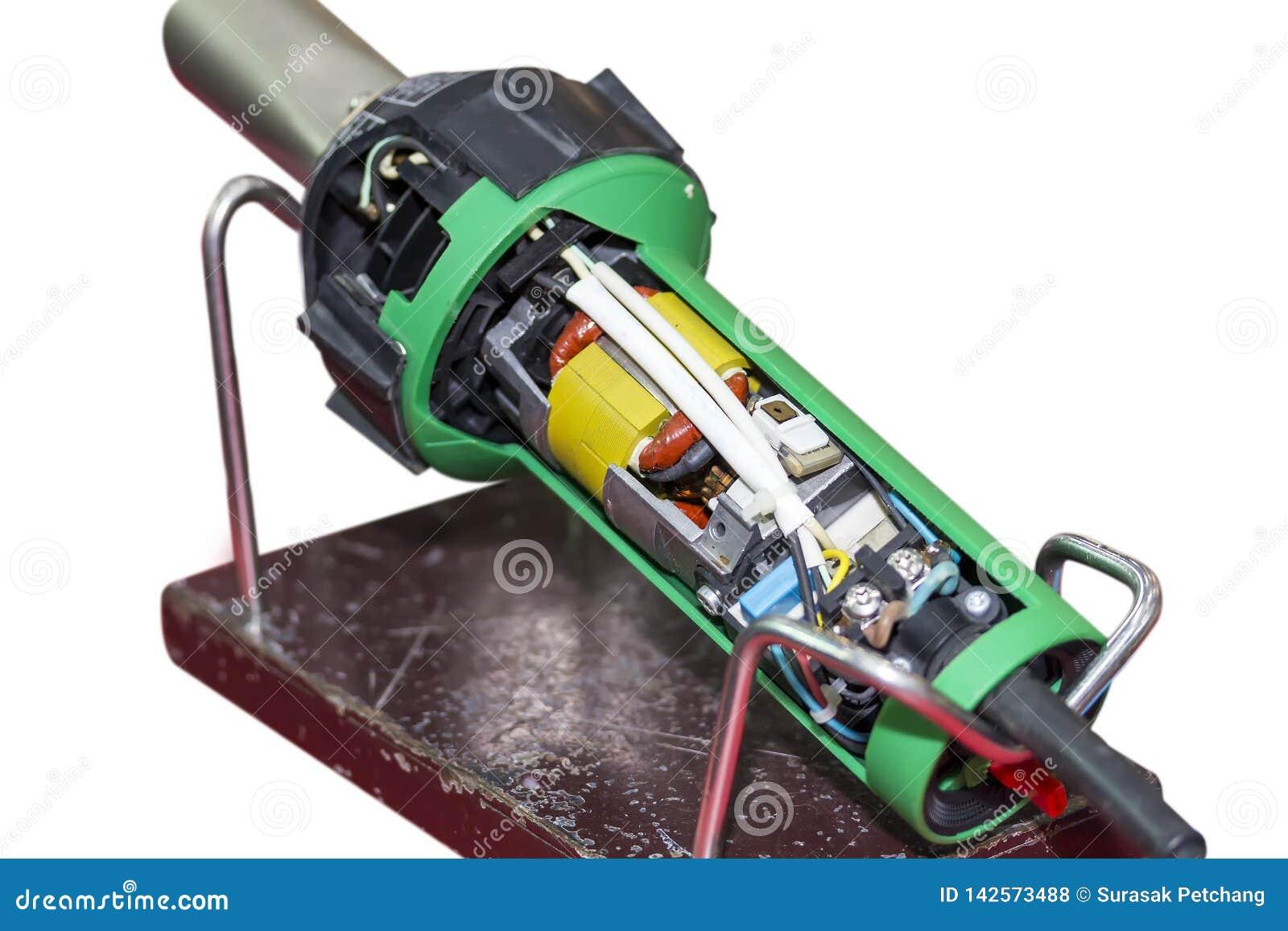 挤压机塑料焊接器的接近的横断面在白色背景工业修理和维护的隔绝的