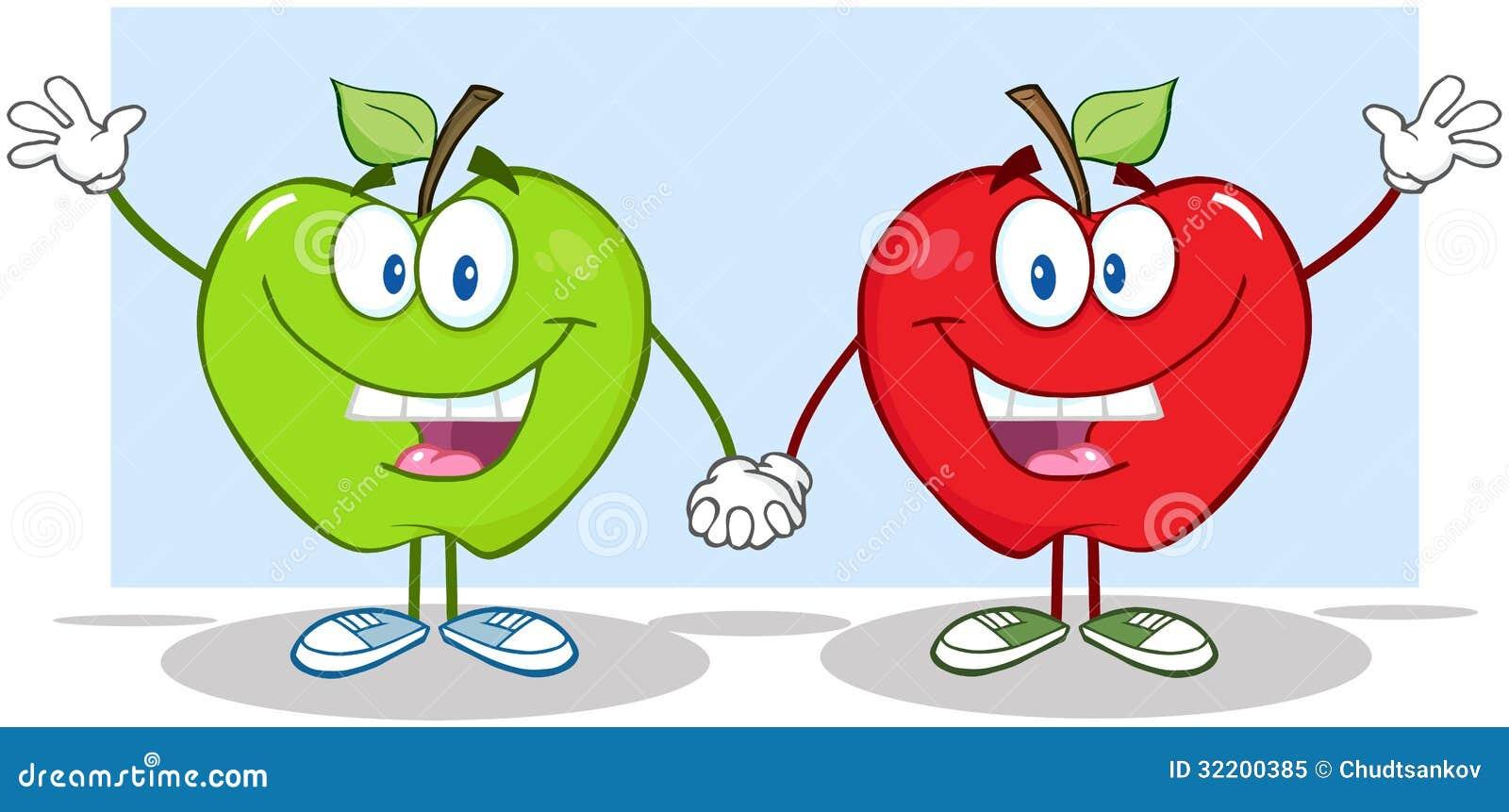 挥动为招呼的红色和绿色苹果漫画人物.图片