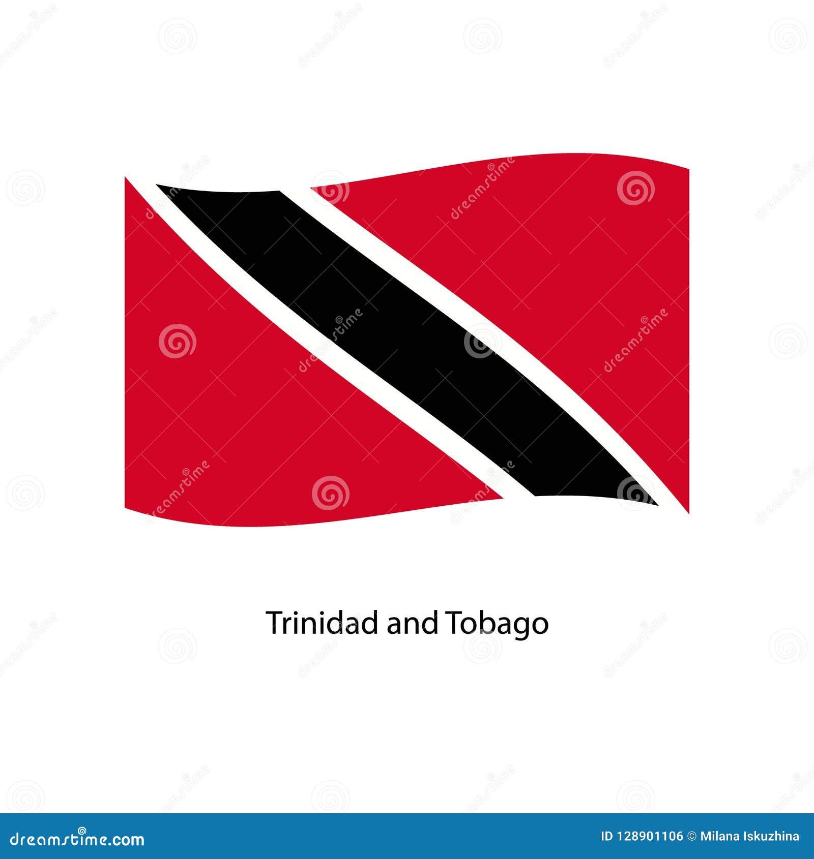 挥动在您的文本的地平线背景的特立尼达和多巴哥的旗子