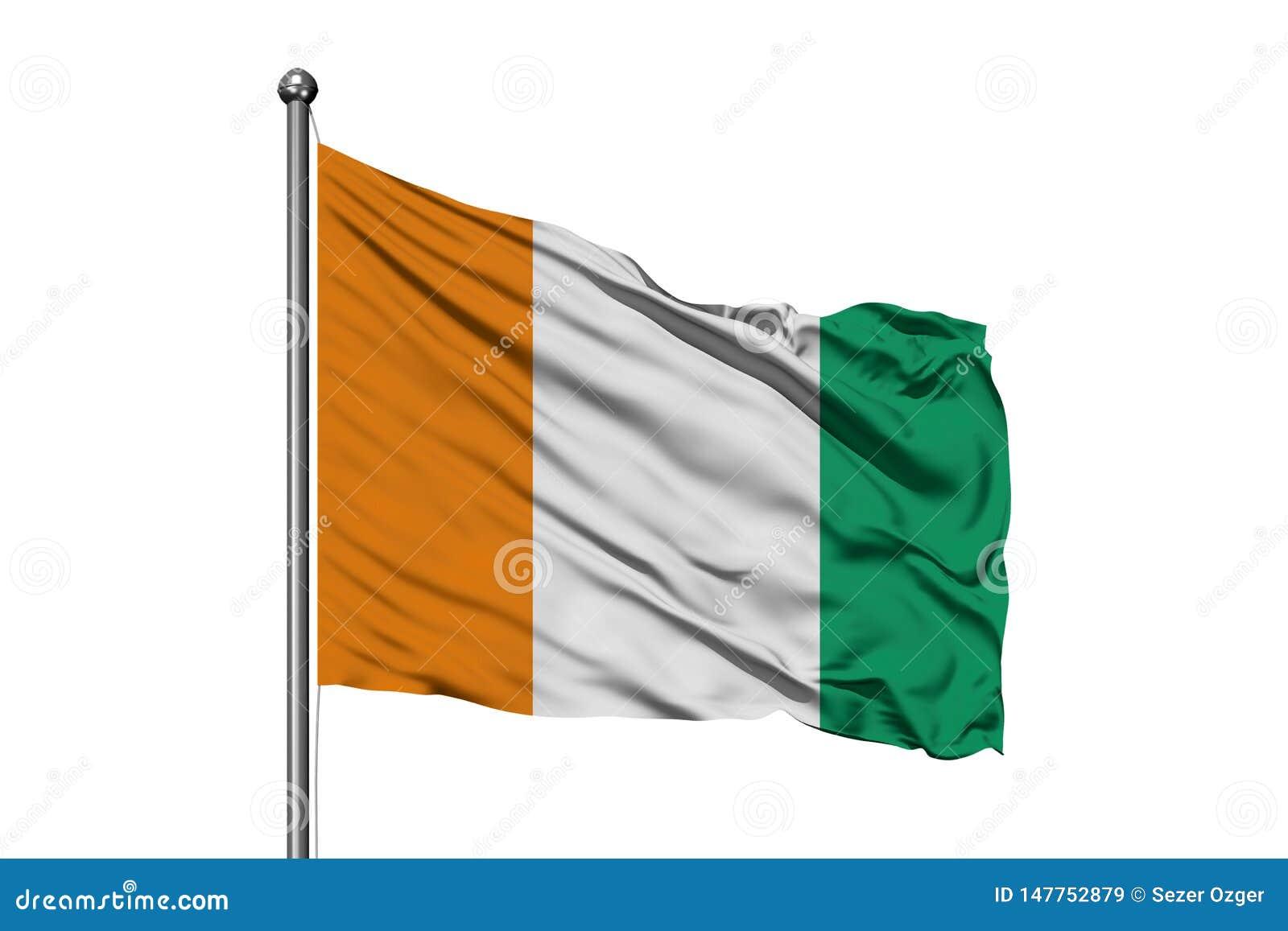挥动在风,被隔绝的白色背景的科特迪瓦旗子