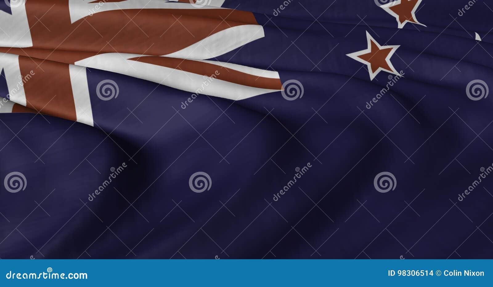 振翼在轻风的新西兰旗子