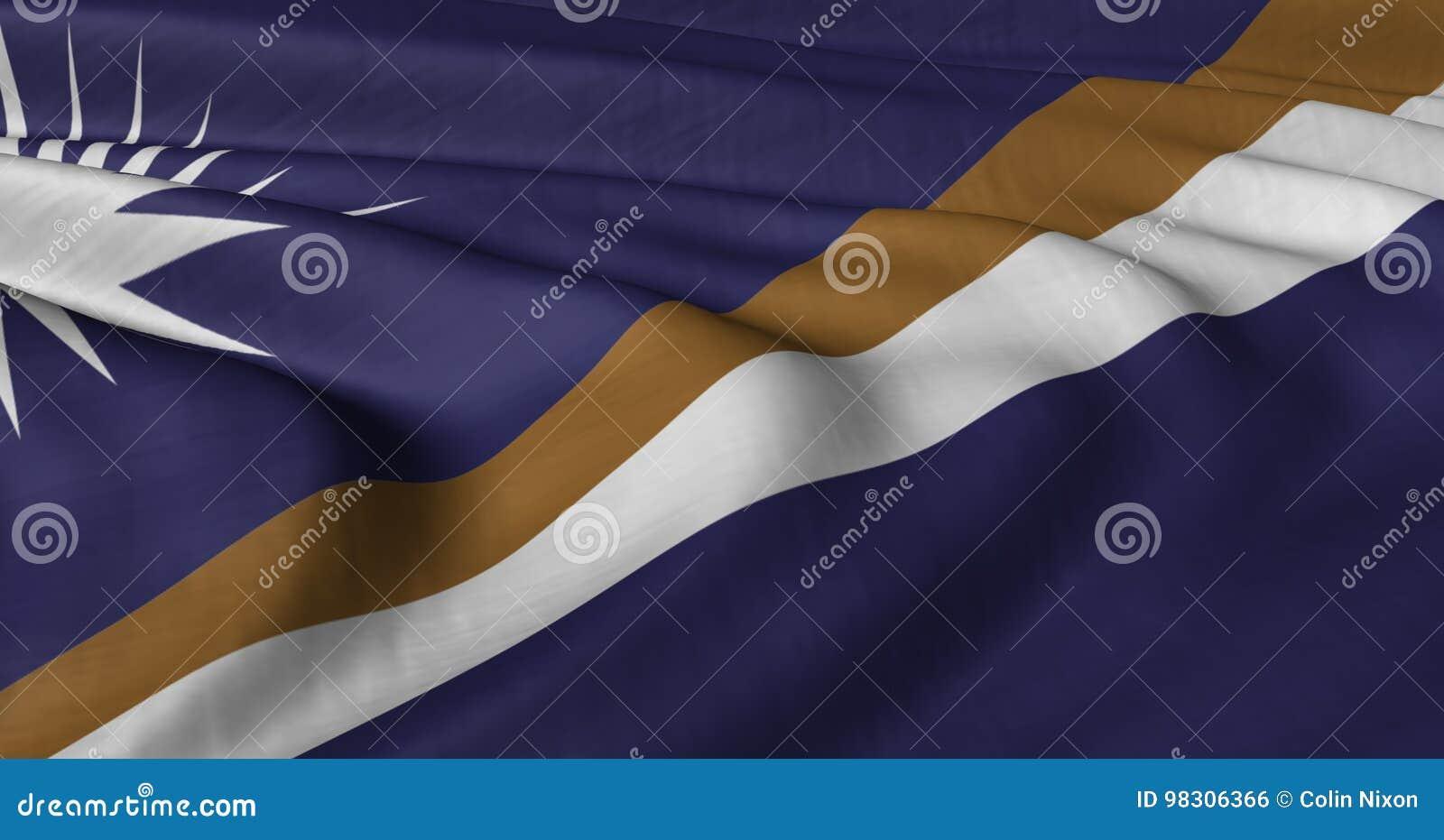 振翼在轻风的马绍尔群岛旗子