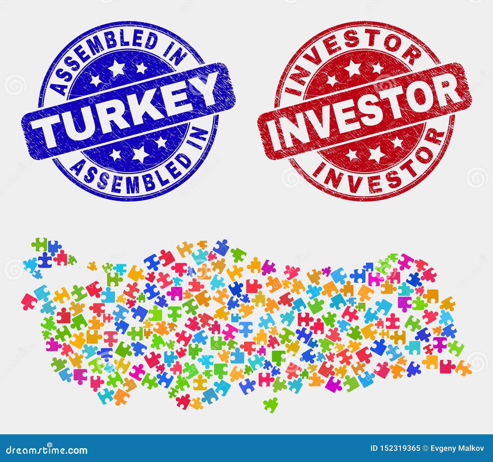 捆绑土耳其地图和抓被装配的和投资者邮票