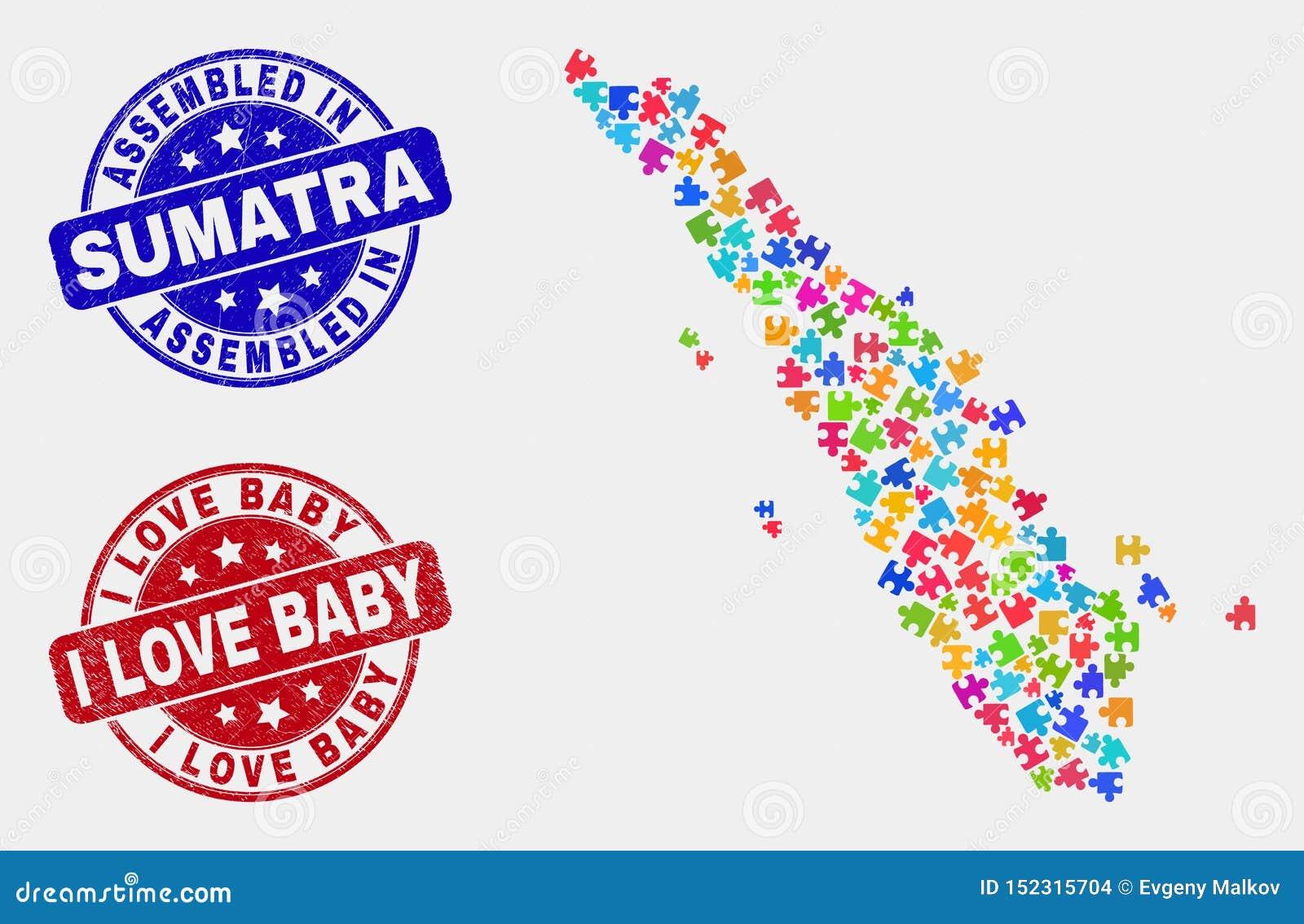 捆绑苏门答腊地图和难看的东西被装配的和我爱婴孩邮票