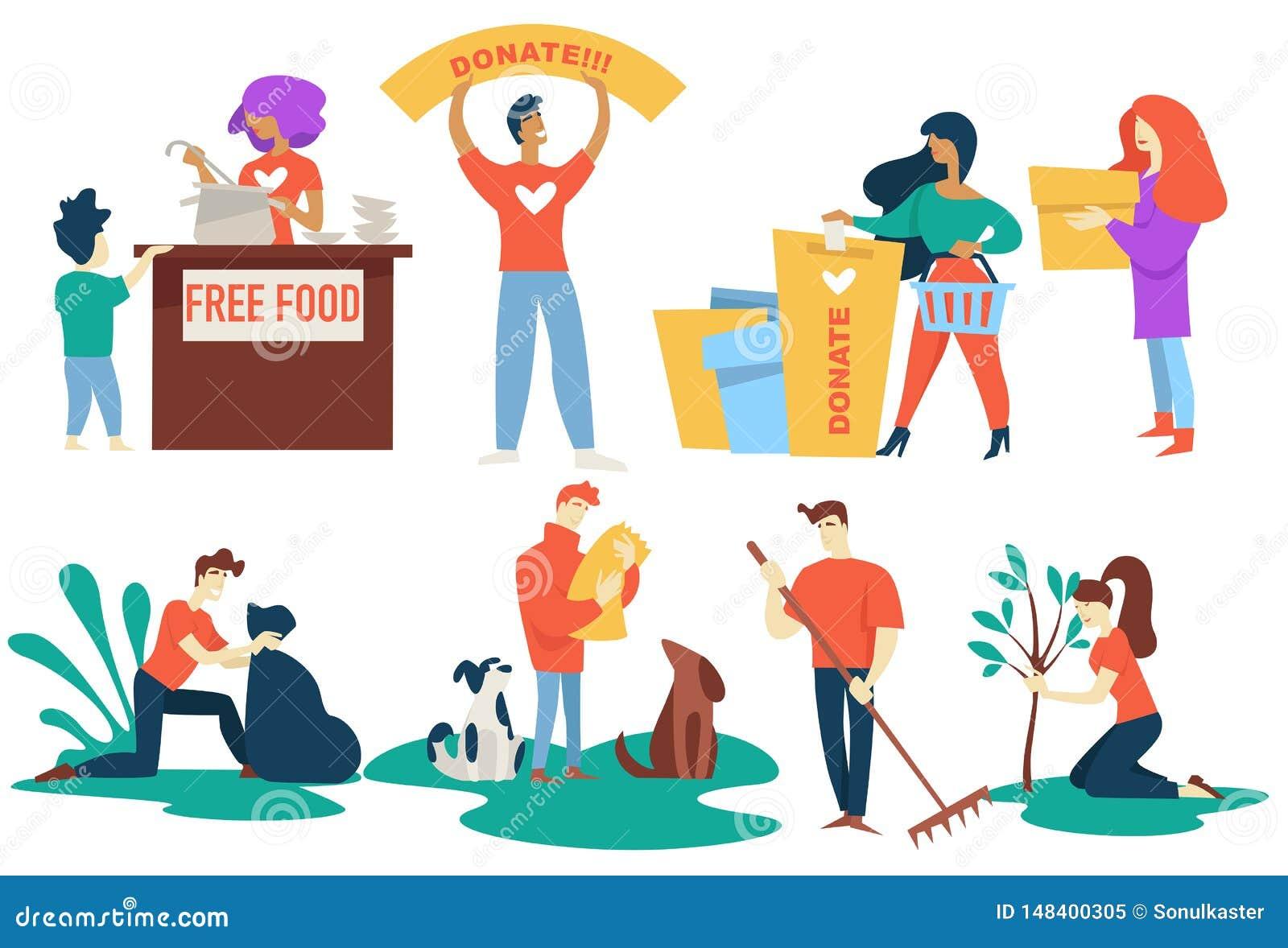 捐赠和慈善志愿者自由食物和宠物保护