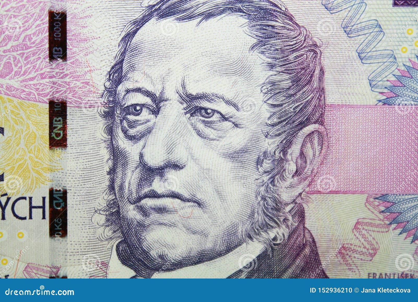 捷克细节加冠与弗朗蒂塞克帕拉茨基画象的一千张钞票