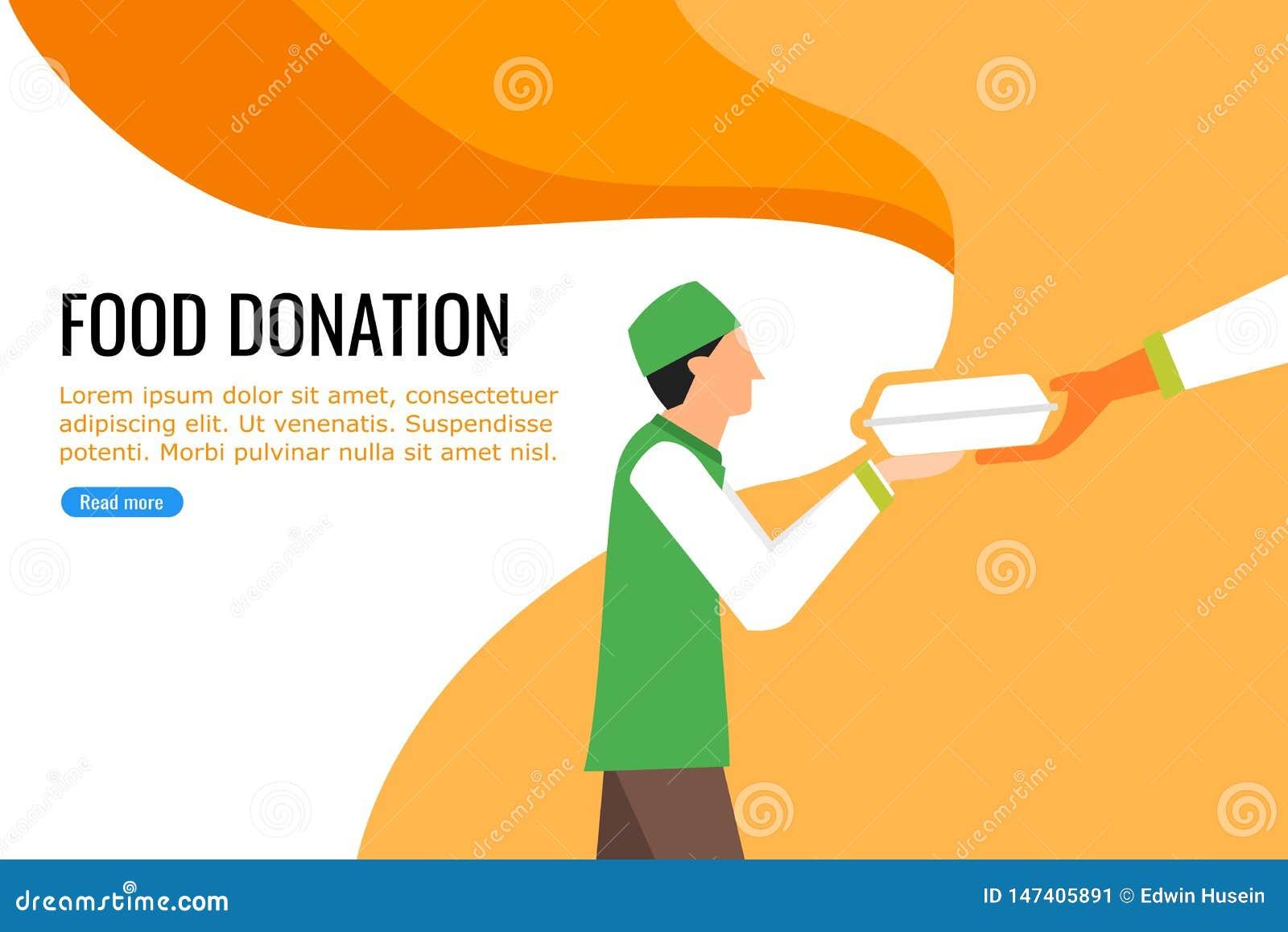 接受食物的一个年轻男孩从附近的食物捐赠