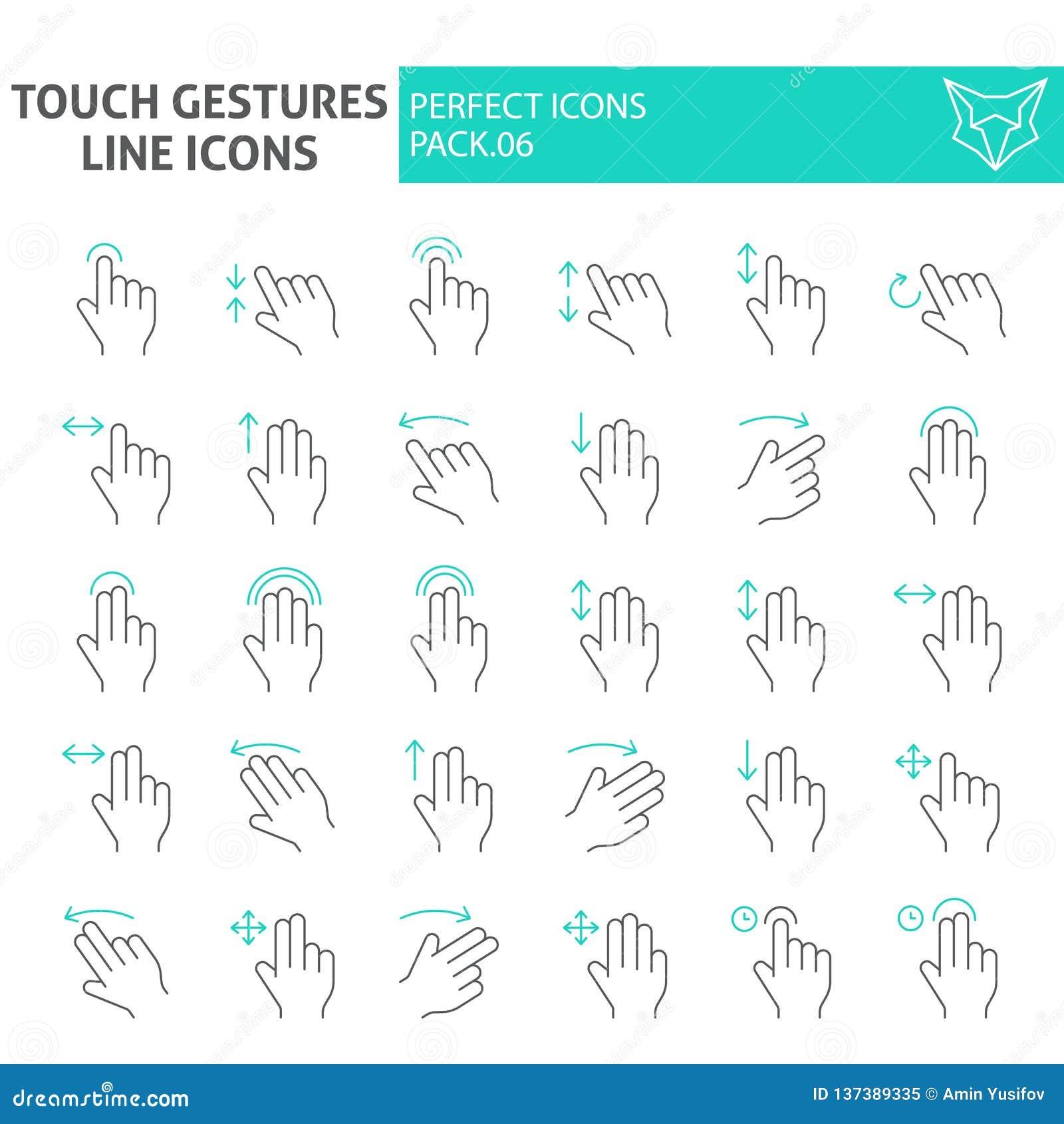 接触打手势稀薄的线象集合,点击标志汇集,传染媒介剪影,商标例证,线性重击的标志