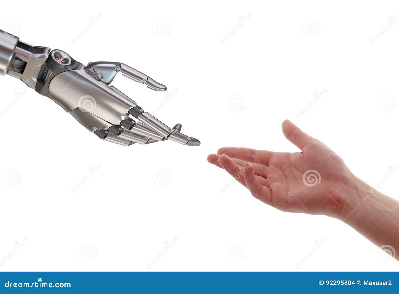 接触3d例证的人和机器人隔绝在白色背景
