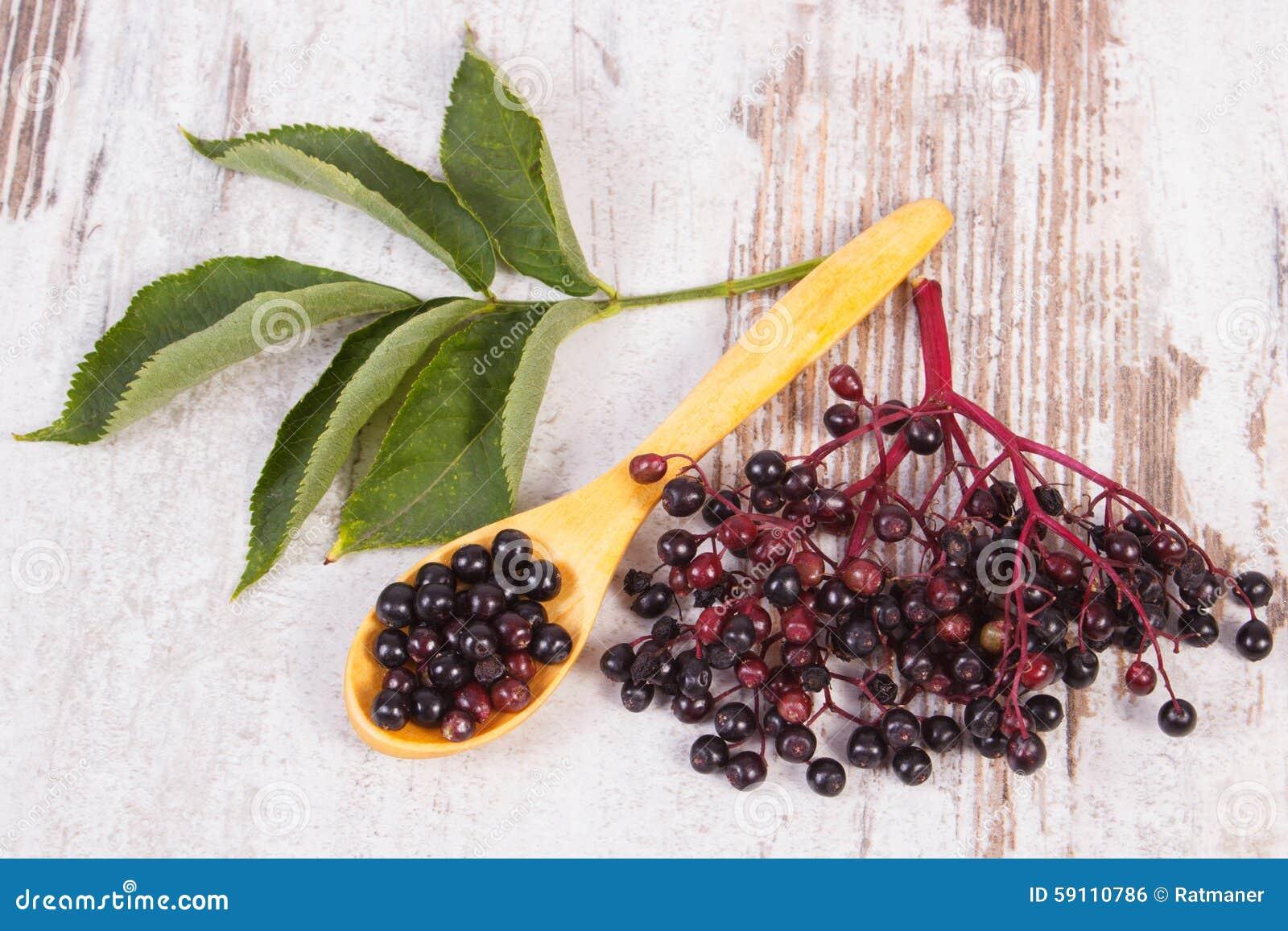 接骨木浆果堆与木匙子的在老木背景,健康食物