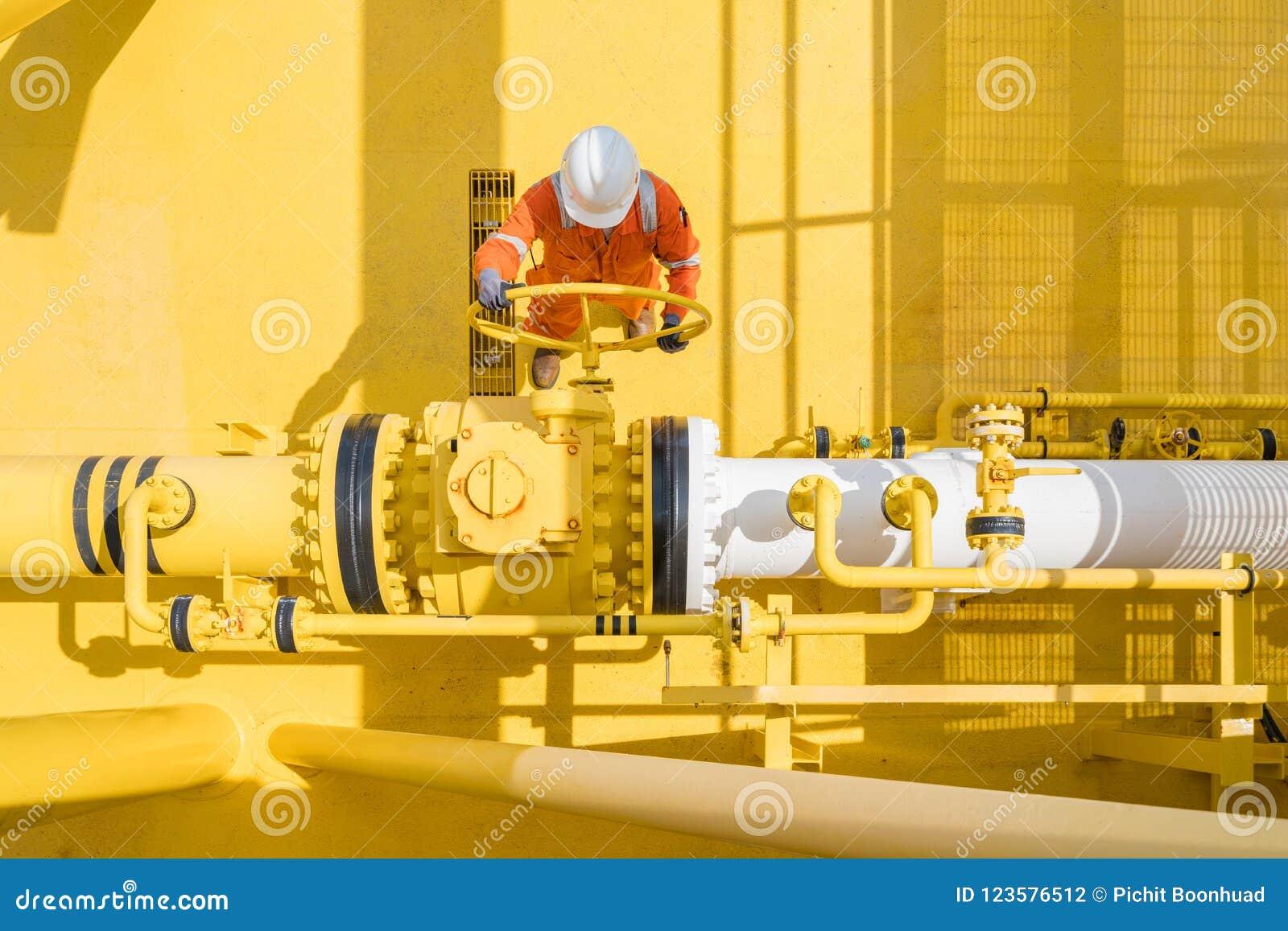 控制气体的近海油和煤气站点服务操作员开放阀门和粗暴产品、石油和化工业busines