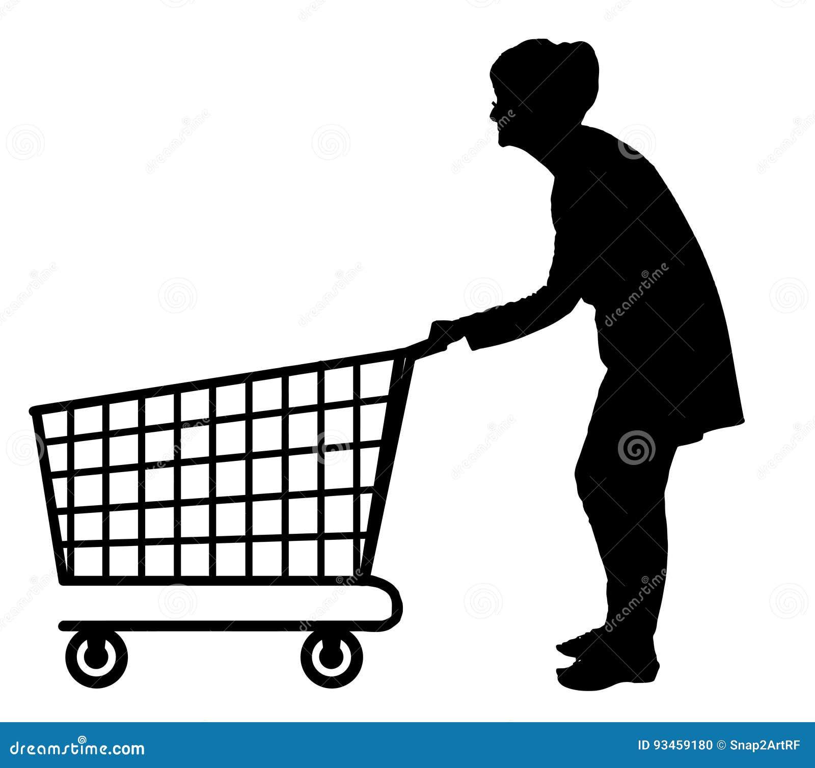 推挤空的购物台车的年长妇女剪影