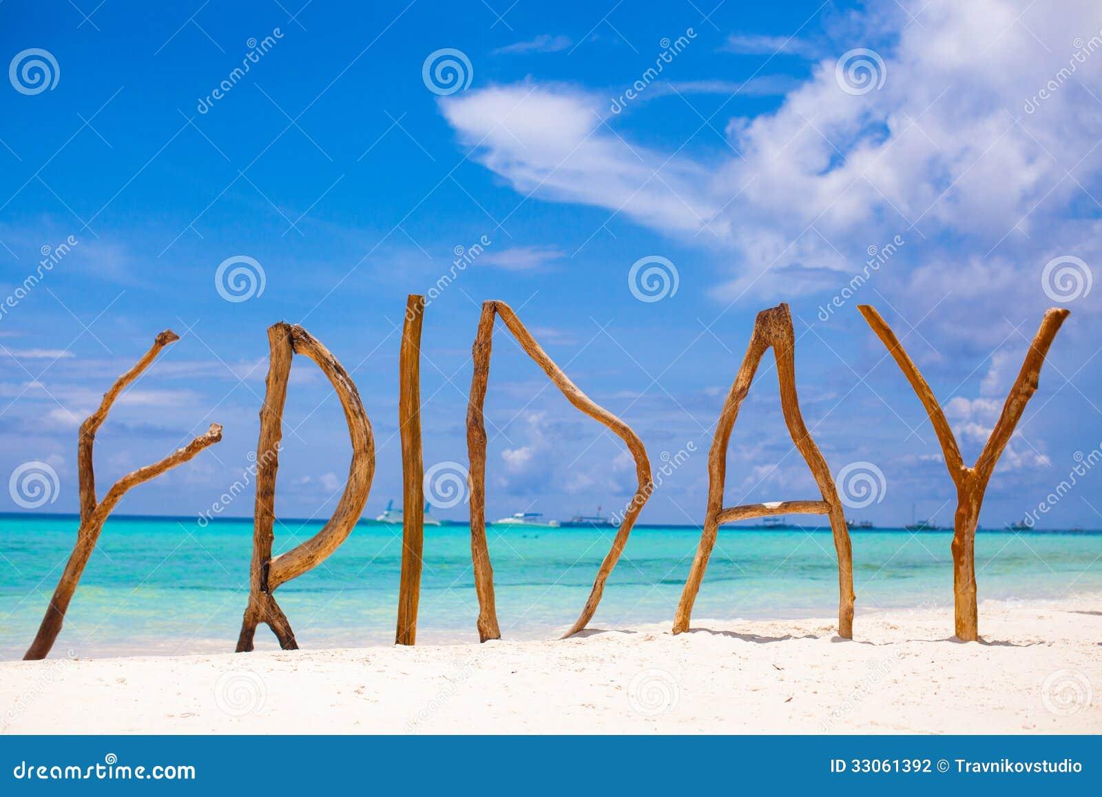 措辞星期五由木头制成在博拉凯海岛
