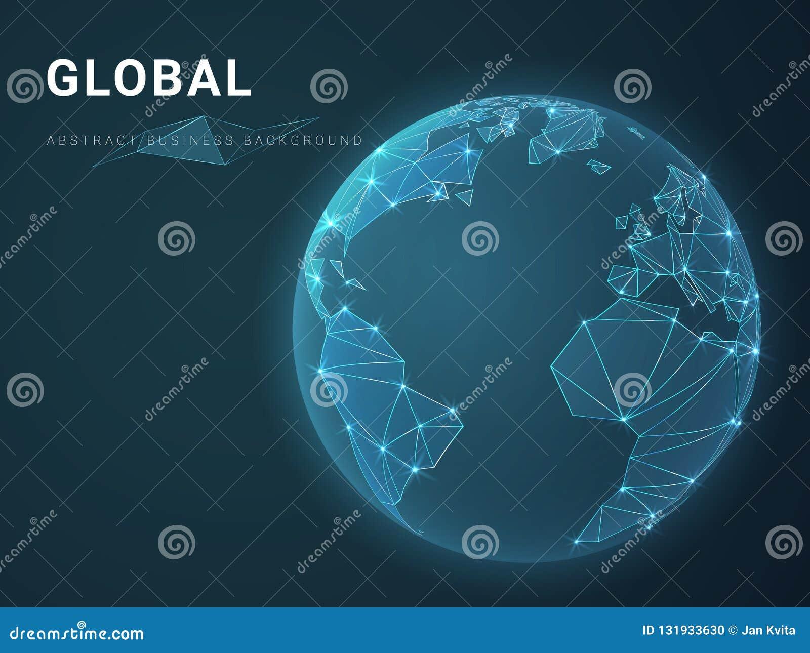 描述与星和线的抽象现代企业背景传染媒介全球性在行星地球的形状在蓝色背景的