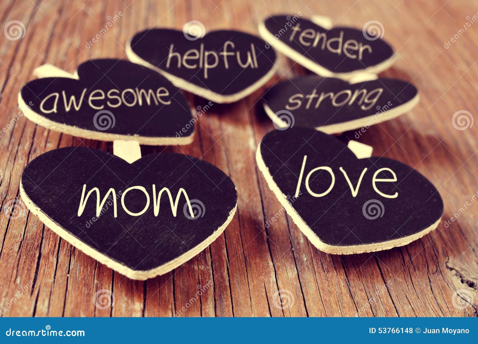 提到一个好妈妈,例如爱,有用或tende的概念