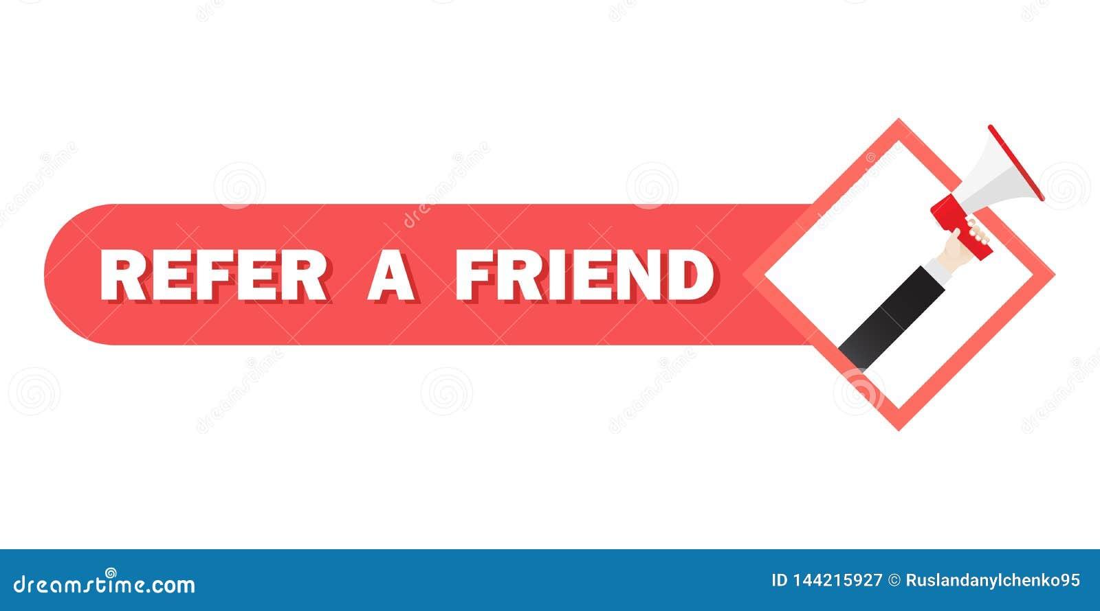 提到一个朋友例证概念,在扩音机的人呼喊,能为登陆的页,数字商业广告使用 ??