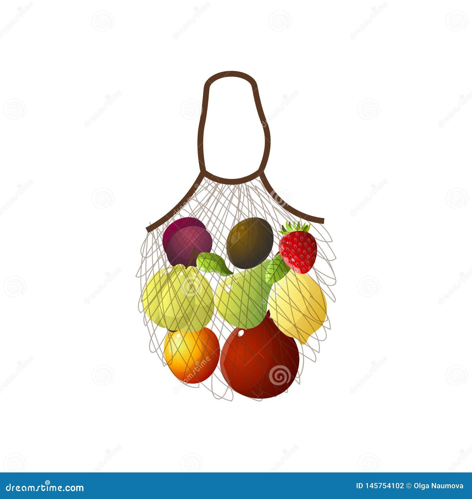 提包网用eco果子,香蕉,李子,猕猴桃