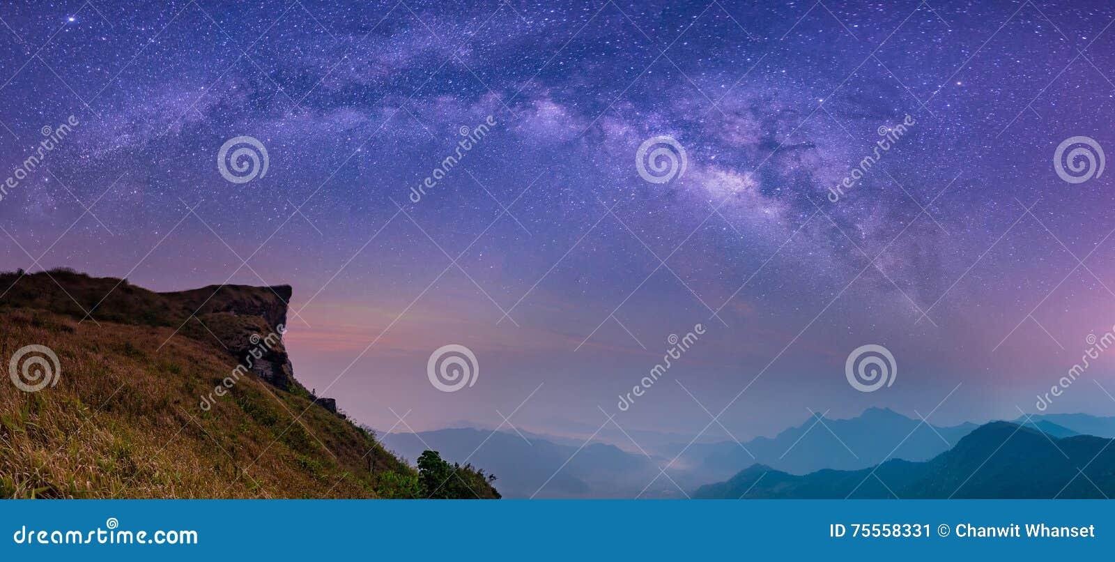 提取与银河星系夜空的被弄脏的风景