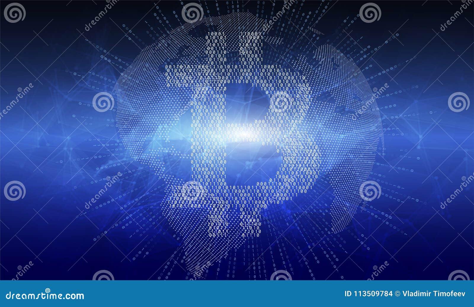 提取与bitcoin cryptocurrency标志的被加点的地球地球 设计横幅的,新闻岗位,社会媒介元素