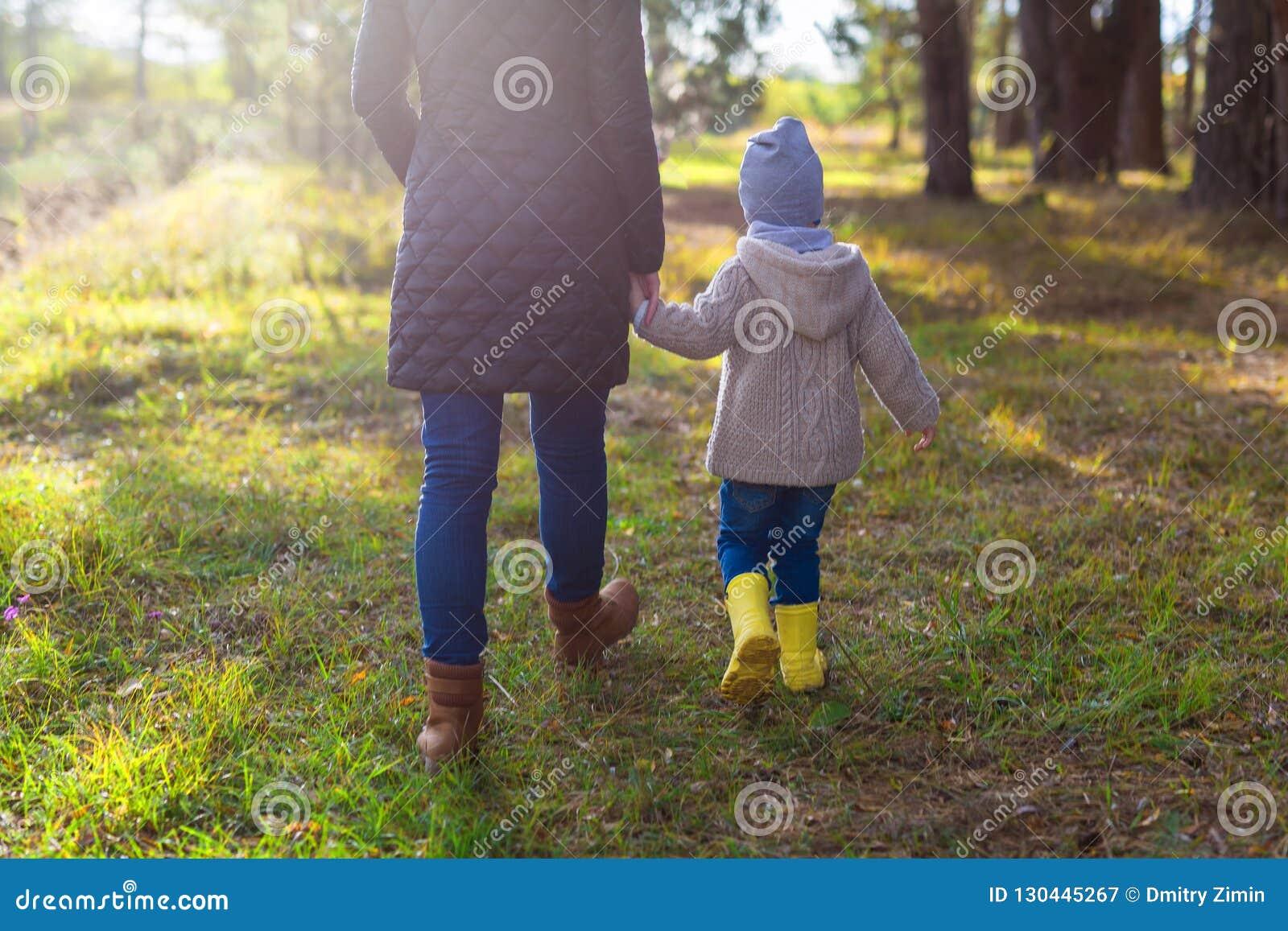 握她的孩子的手的年轻母亲,当走在森林里时