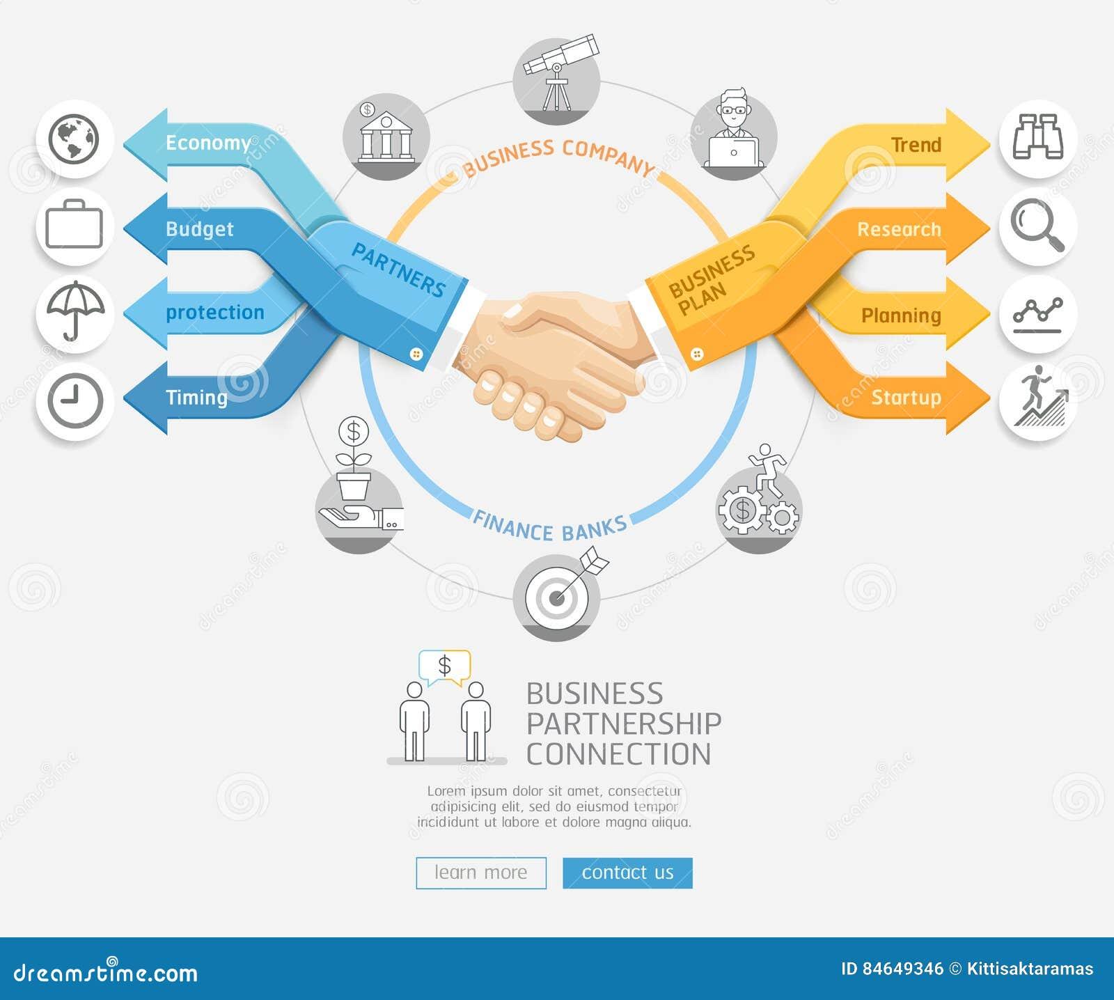 握手和箭头企业Infographics样式的商人