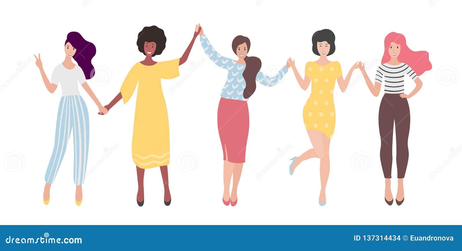 握手的不同的国际小组站立的妇女或女孩 妇女团体,朋友,男女平等主义者联合