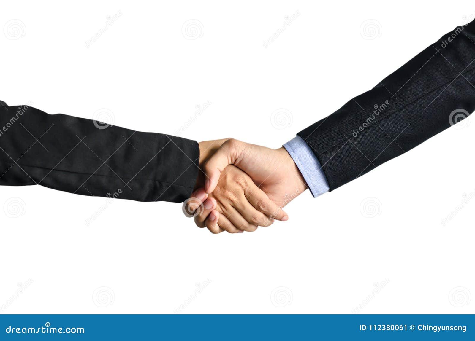 握手的两个商人和女商人隔绝在白色背景