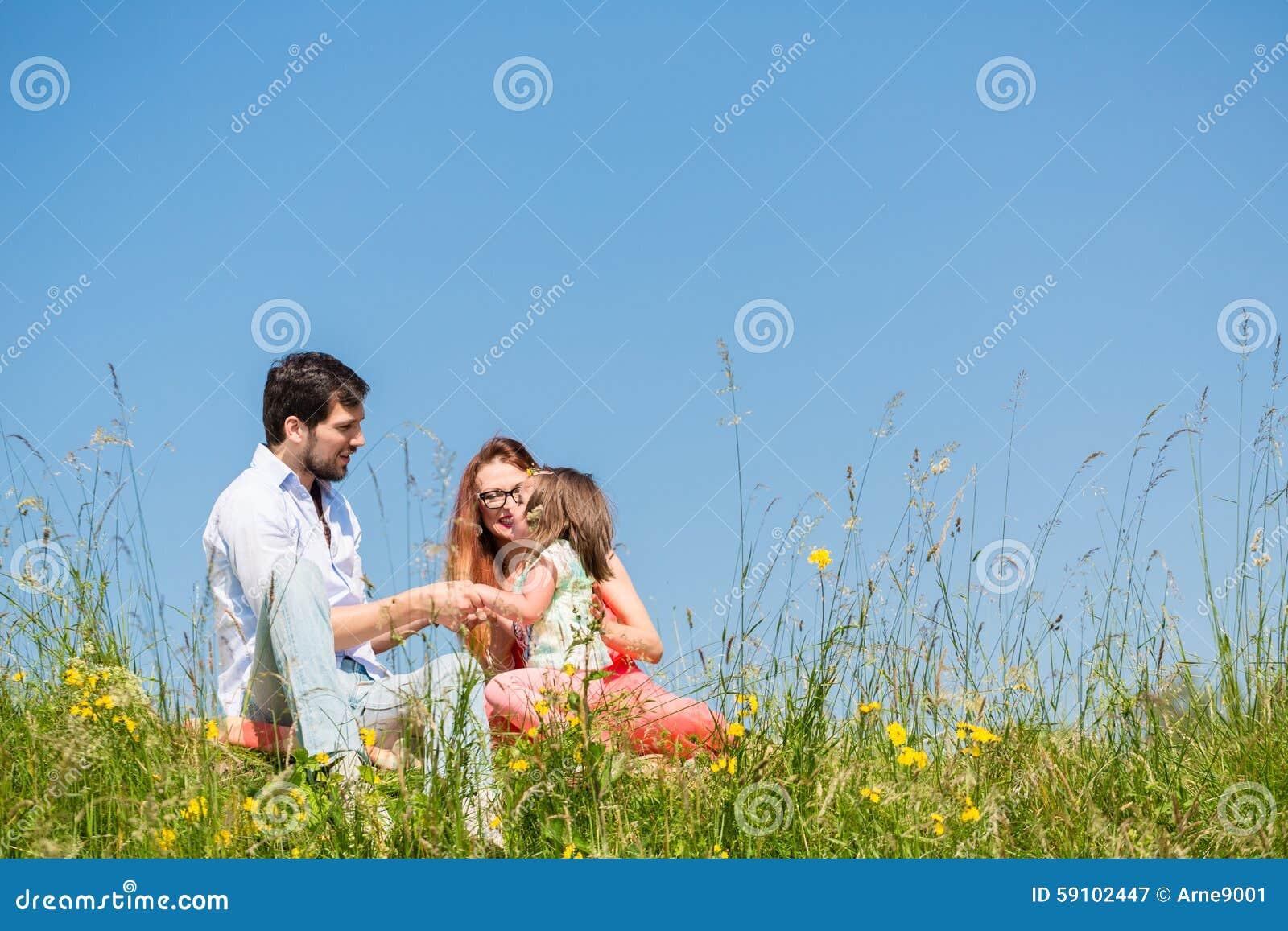 握手的家庭在草的夏天