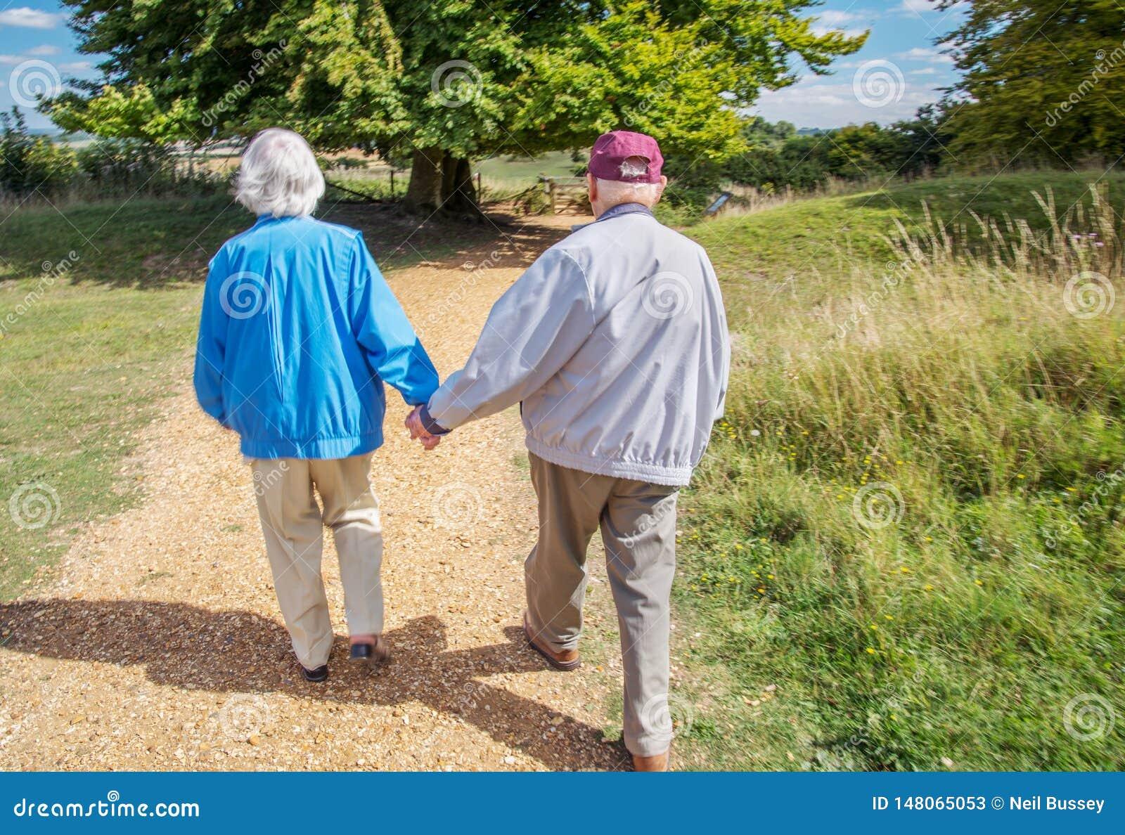 握手的年长夫妇,当参观英国乡下时