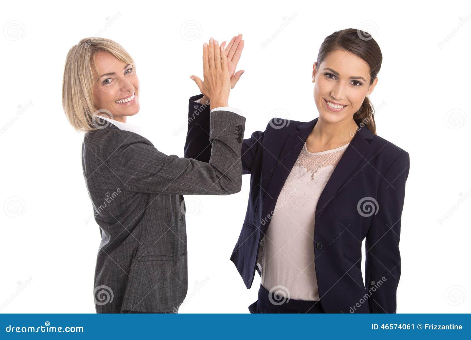 握手的成功庆祝和被隔绝的女实业家