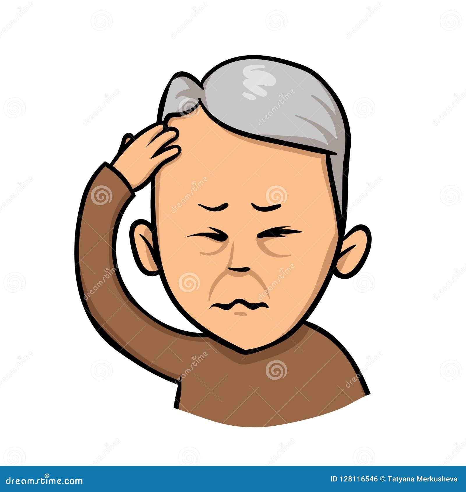 握手的老人对他的头 丢头落尾,头疼 平的传染媒介例证 背景查出的白色