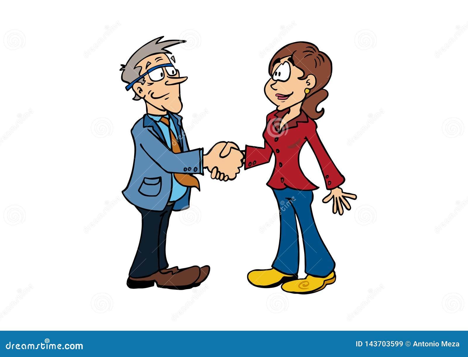 握手老人和中间年迈的妇女