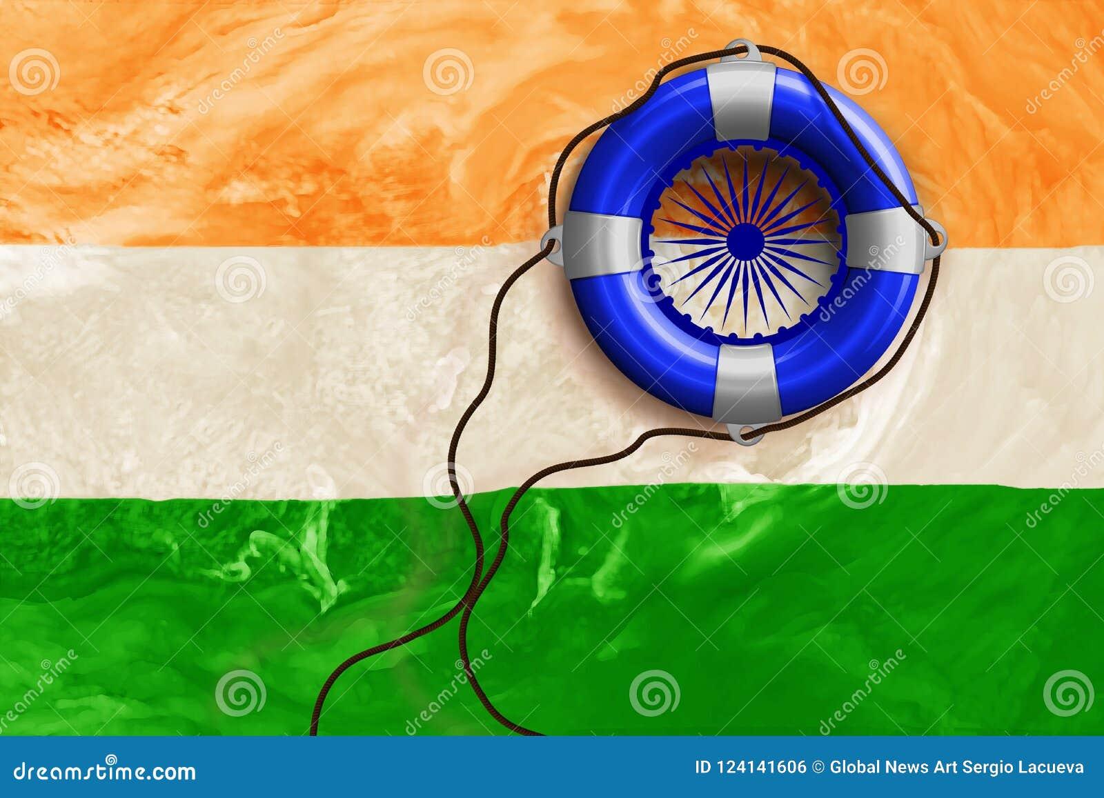 援助行动的例证在洪水以后的印度