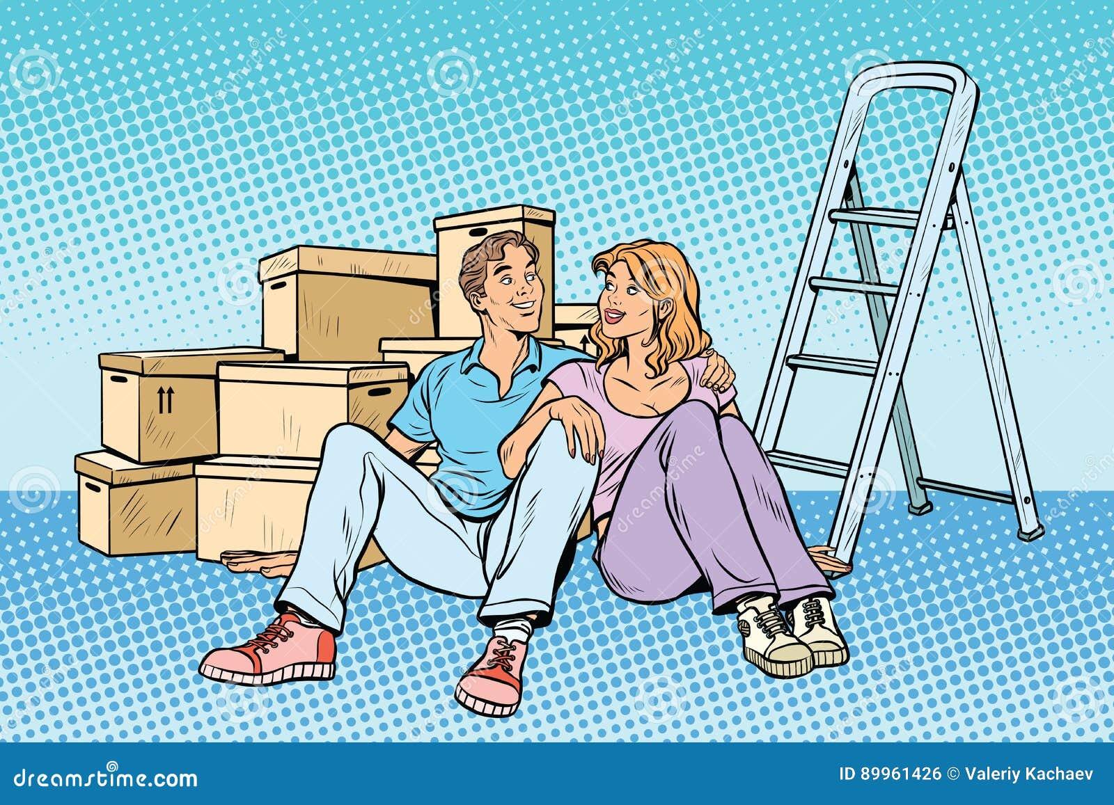 搬到一个新房的年轻家庭