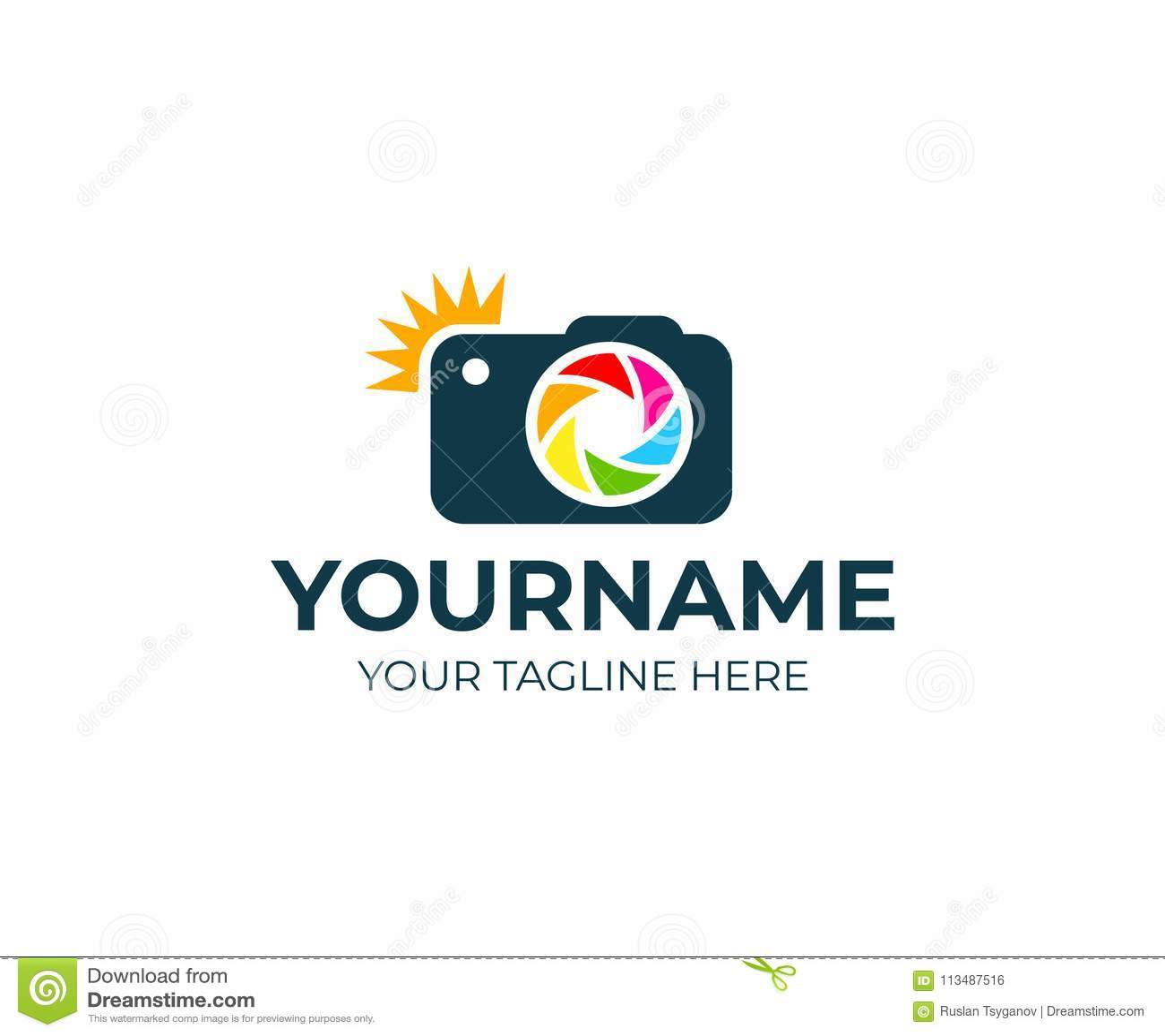 摄影师和照相机与闪光和透镜,商标模板 摄影演播室和摄影,照片传染媒介设计