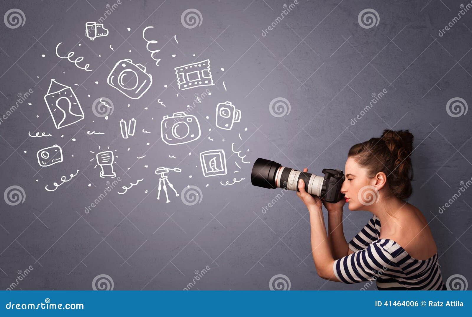 摄影师女孩射击摄影象