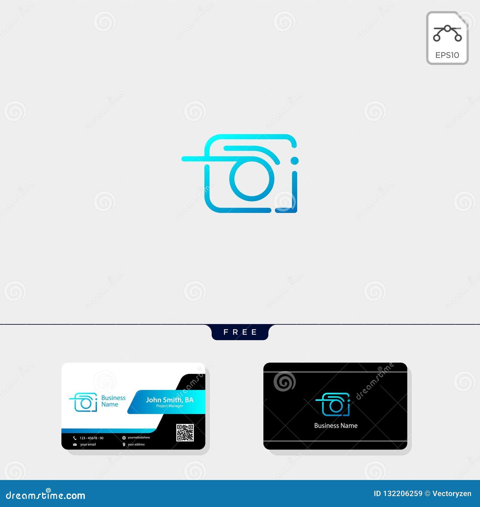 摄影,摄影师,照相机商标模板传染媒介例证,自由名片设计