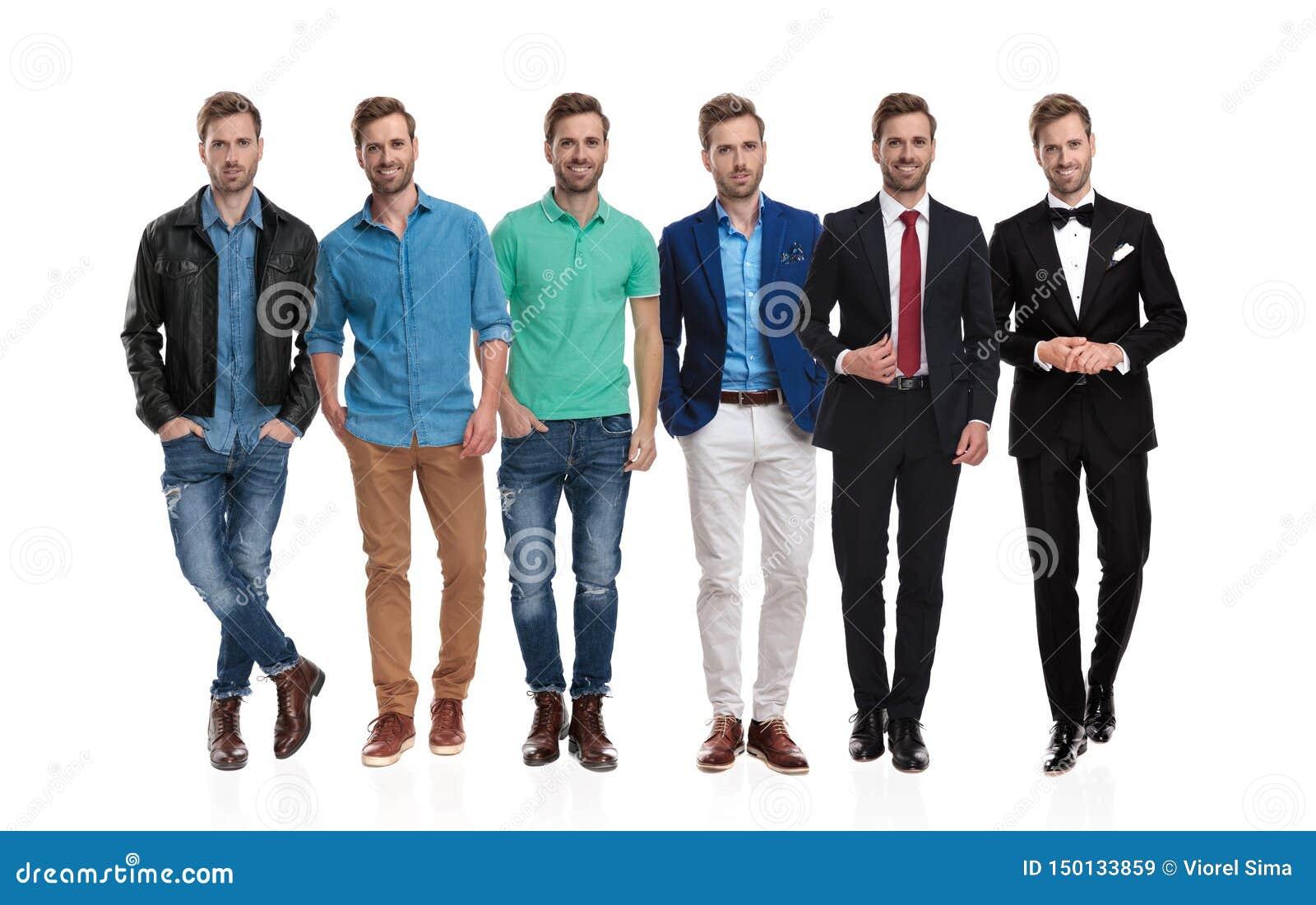 摆在佩带的不同的成套装备的同样乐观年轻人