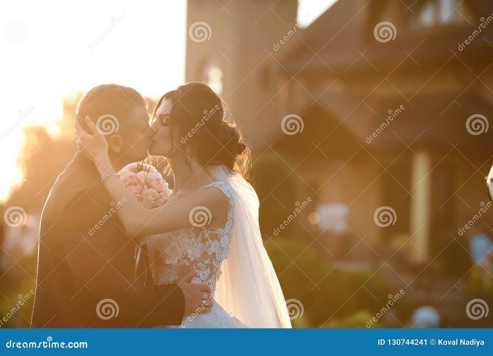 摆在公园的愉快的新婚佳偶时髦的夫妇在他们的婚礼之日 白色礼服的华美的愉快的深色的新娘亲吻