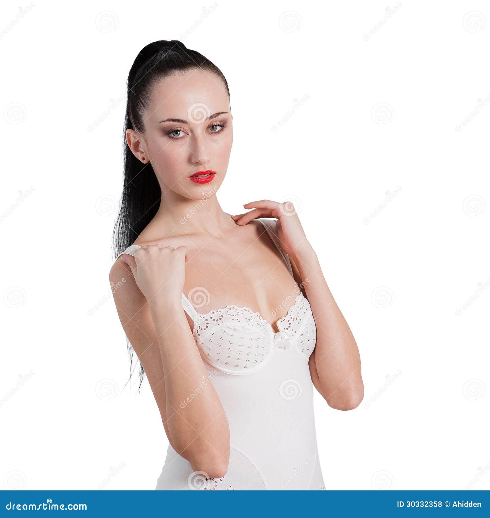 摆在女用贴身内衣裤的一位惊人的小姐的画象
