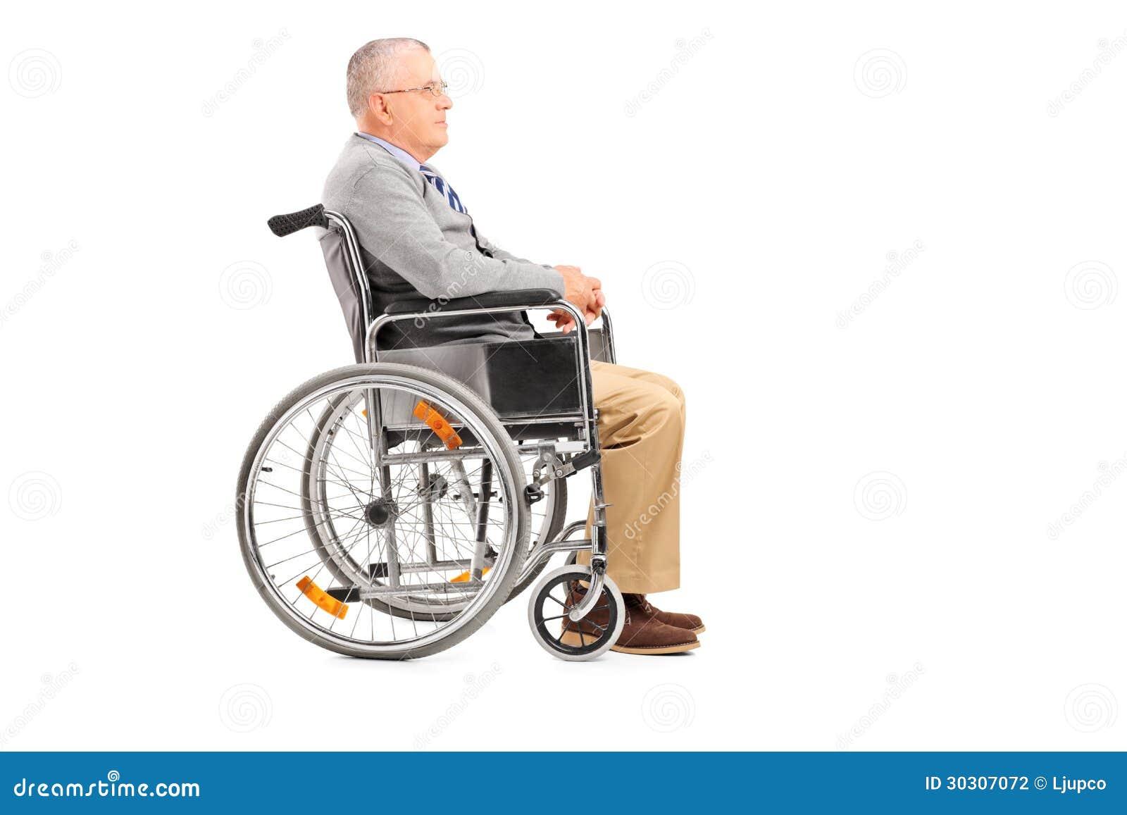 摆在轮椅的一个残疾资深绅士