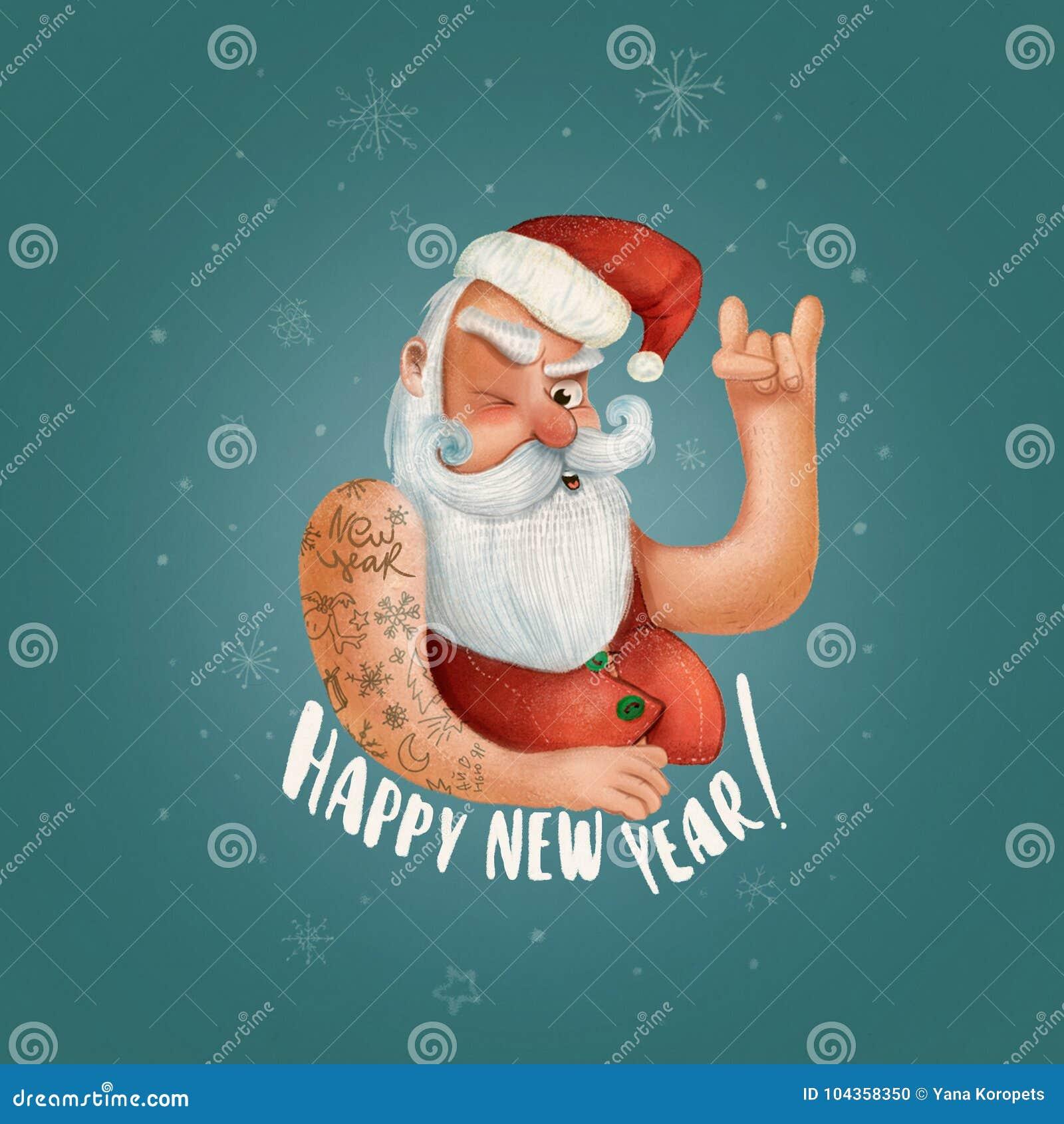 摇滚乐圣诞老人 圣诞节党或贺卡的行家海报 坏圣诞老人xmas海报背景