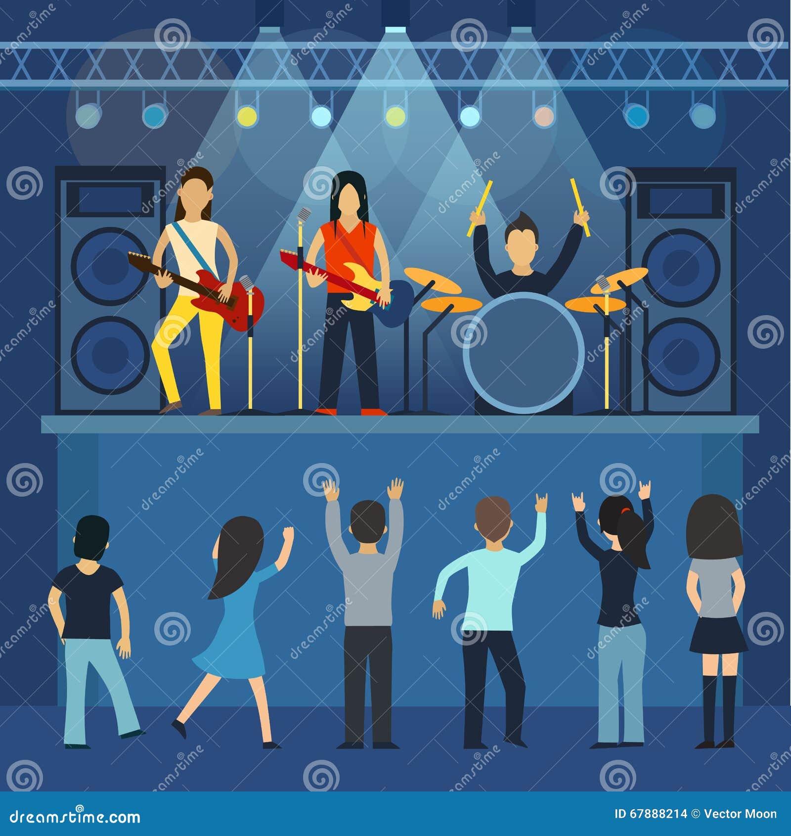 摇滚乐音乐会吉他和音乐家,乐器传染媒介例证